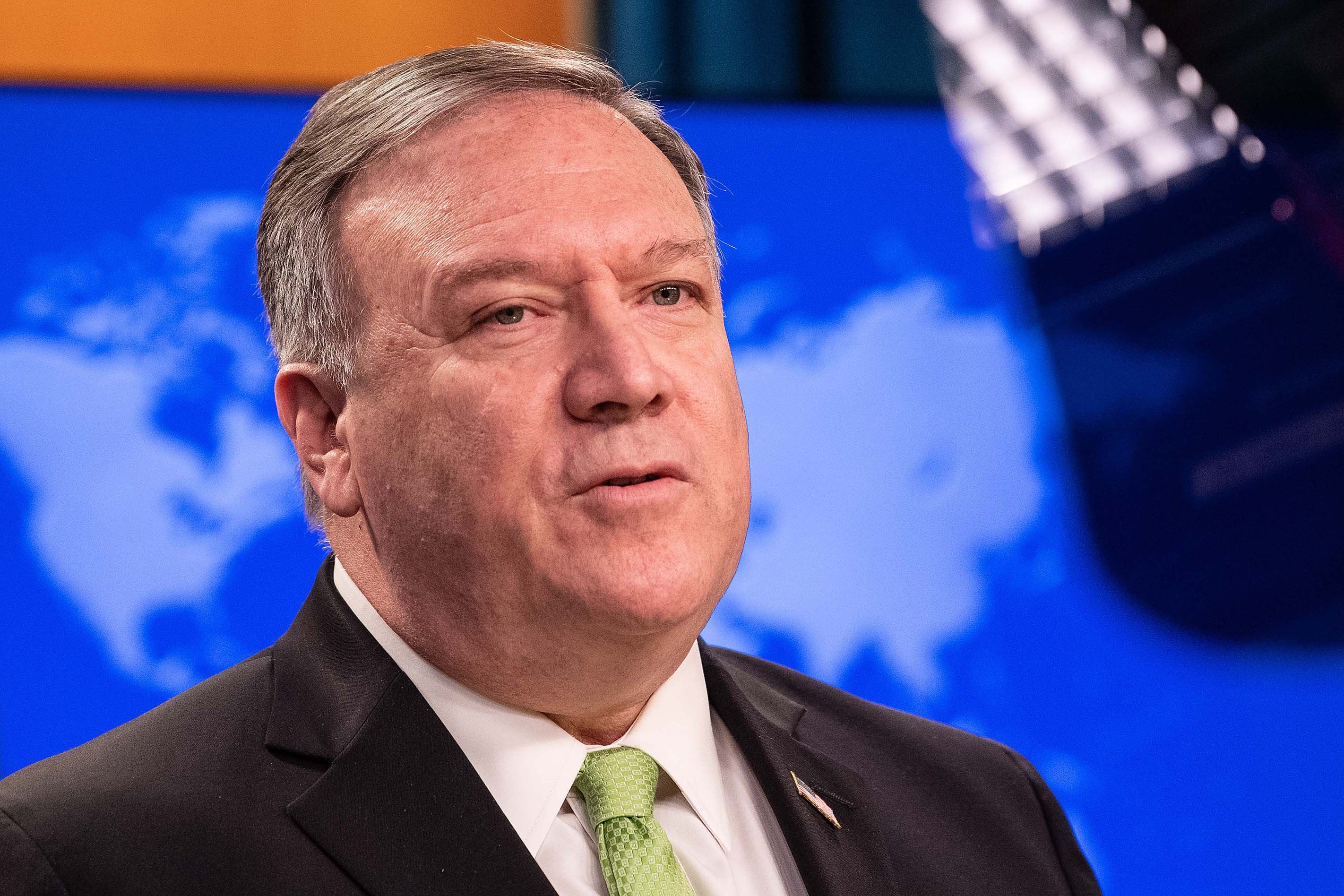 US Secretary of State Mike Pompeo speaks to the press at the State Department in Washington, DC, on May 20.