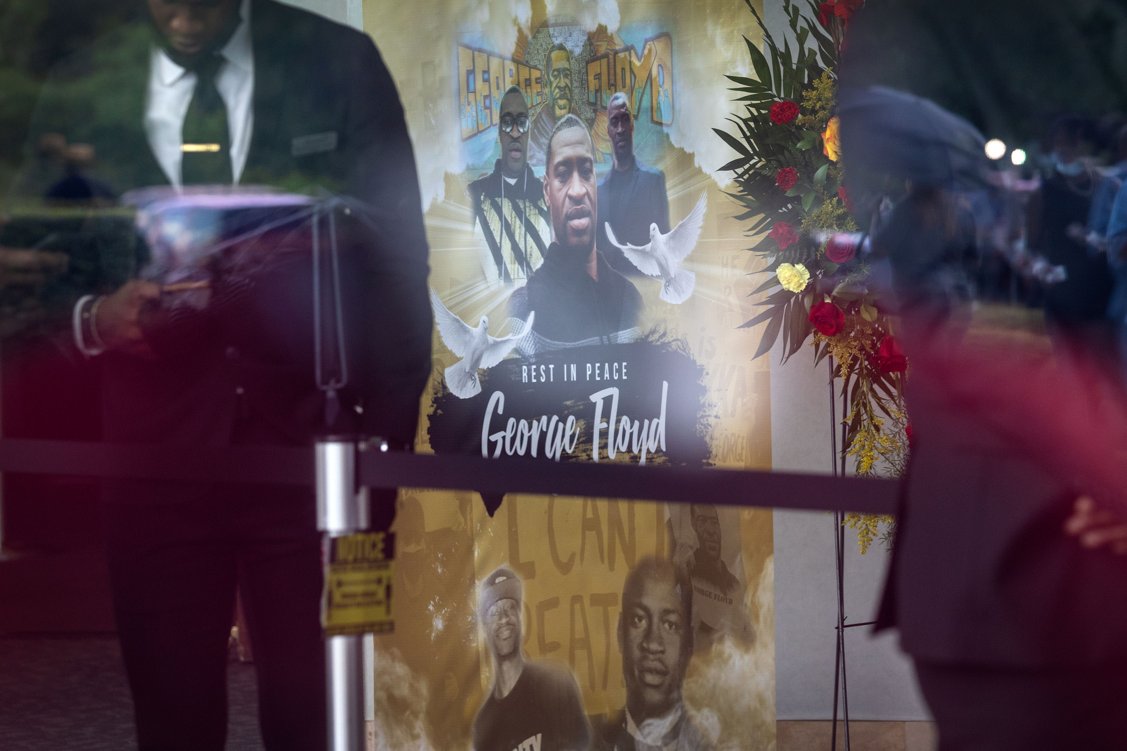 People gather at the final public memorial for George Floyd at the Fountain of Praise church in Houston on June 8.