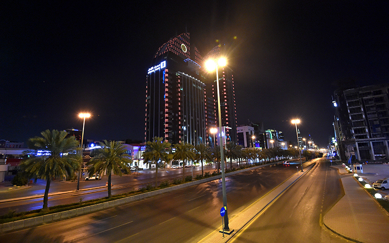 The empty King Fahd road in the Saudi capital Riyadh on Monday, March 23, after authorities imposed a curfew.