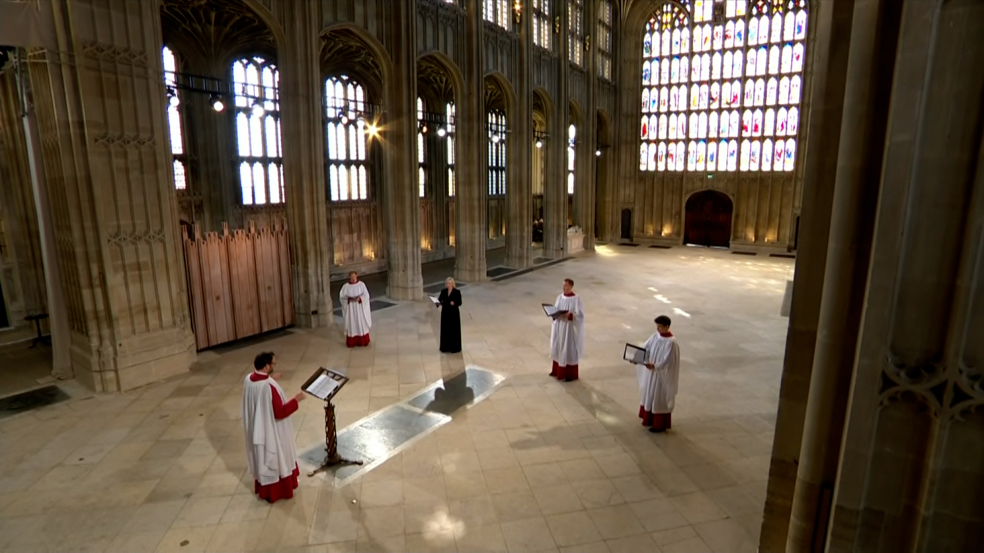 A choir sings during Prince Philip's funeral service.