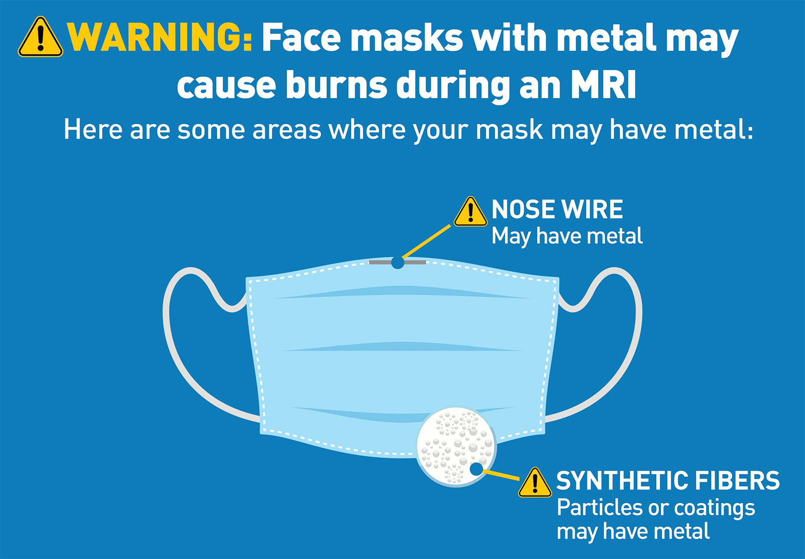 This graphic provided by the FDA warns mask-wearers of the potential metal parts of their masks.