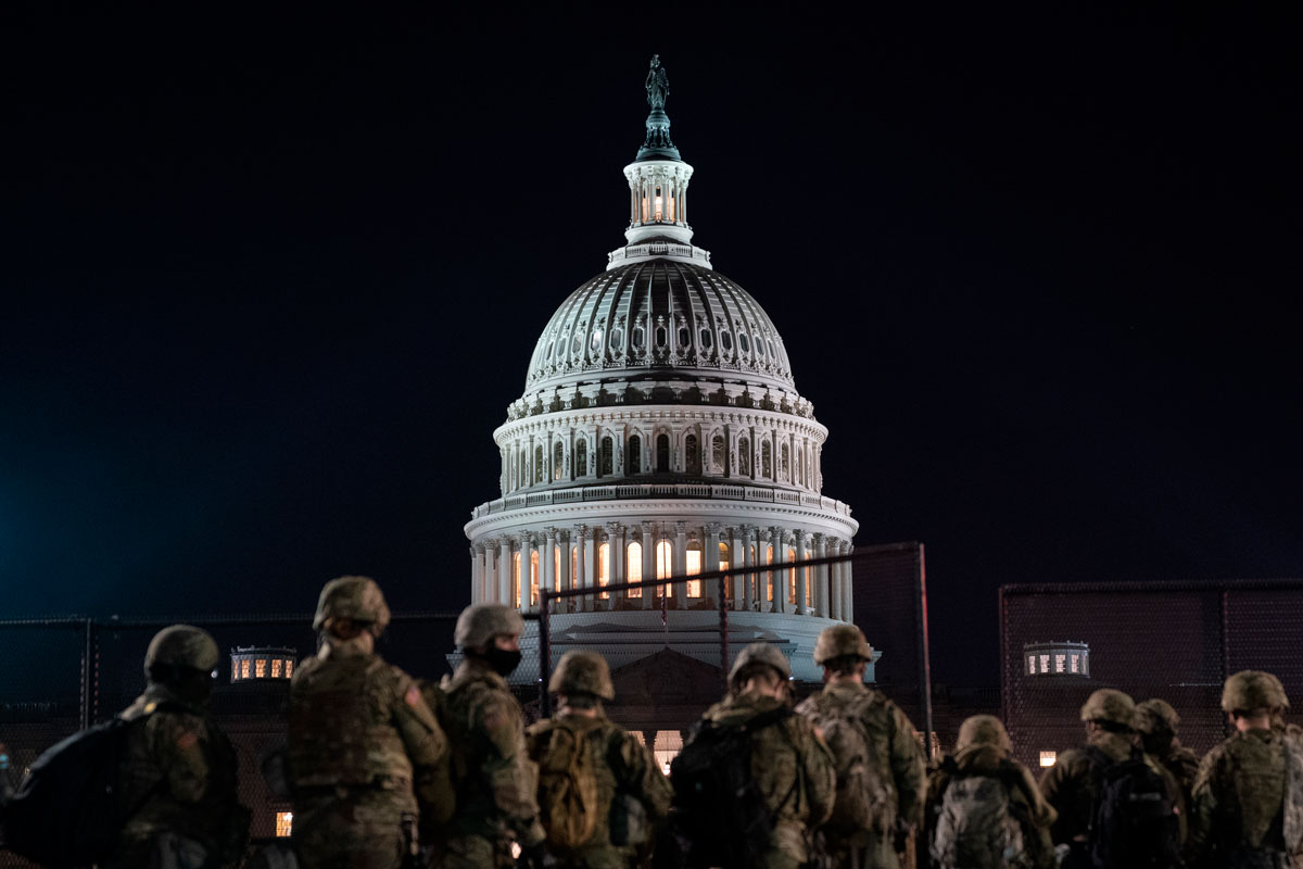 Members of the National Guard gather outside the U.S. Capitol on January 12 in Washington, DC.