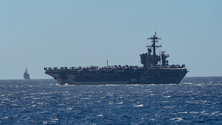 The aircraft carrier USS Theodore Roosevelt in the Philippine Sea Febbruary 29.