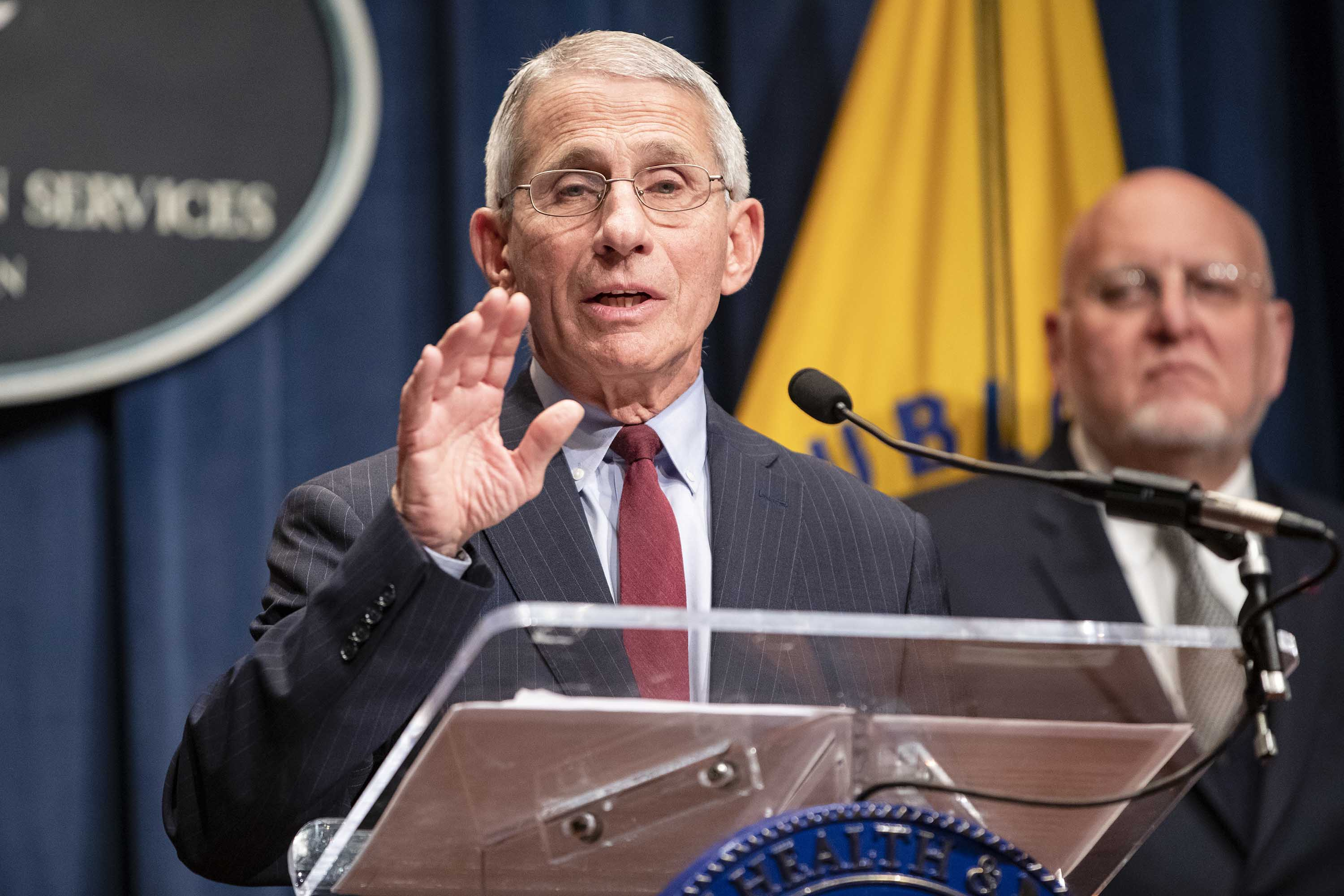 National Institute of Allergy and Infectious Diseases Director Anthony Fauci speaks during a press conference at the Department of Health and Human Services on the coordinated public health response to the coronavirus on January 28 in Washington, DC.