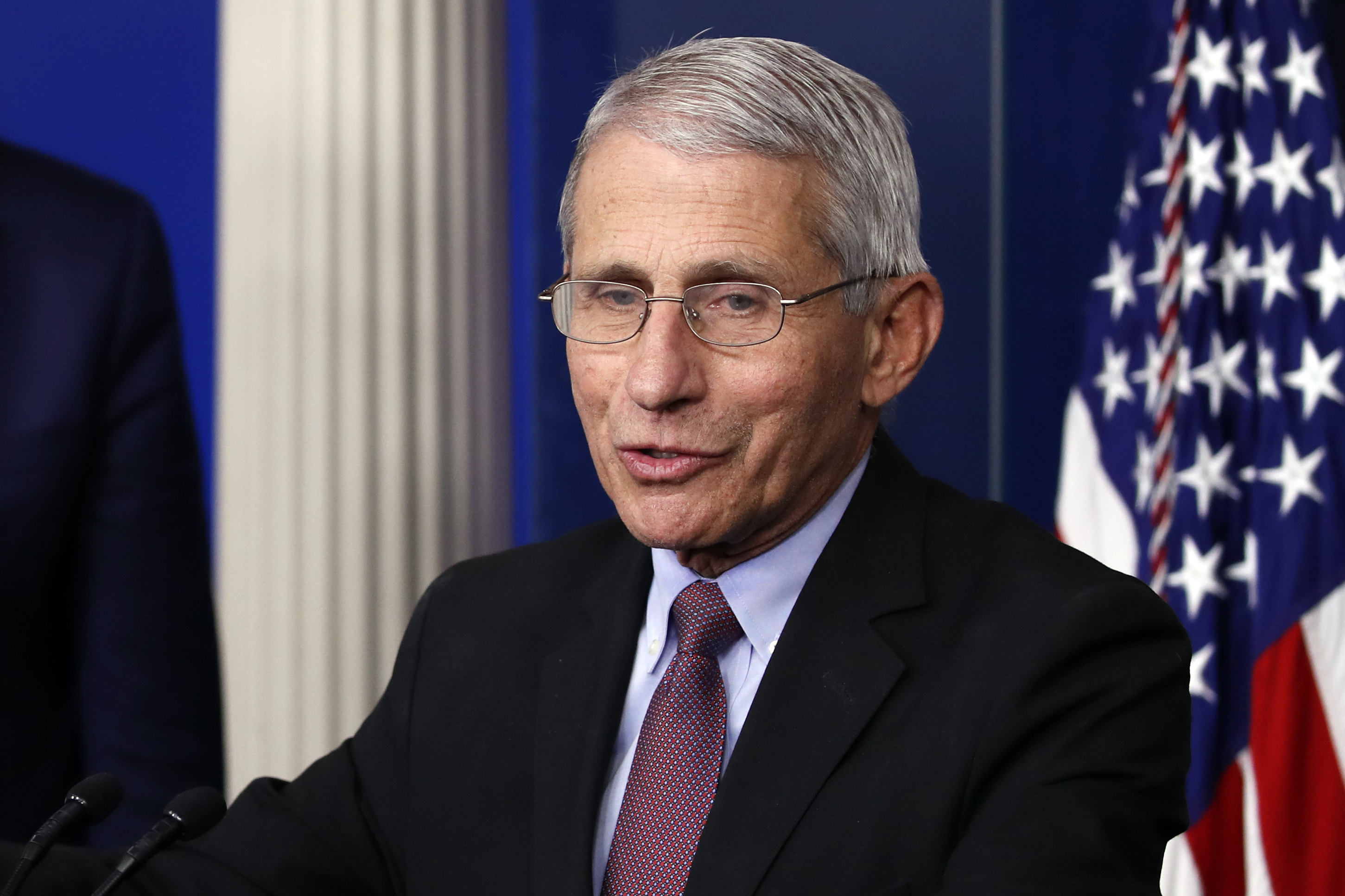 Dr. Anthony Fauci, director of the National Institute of Allergy and Infectious Diseases, speaks about the coronavirus during a press briefing at the White House on April 22.