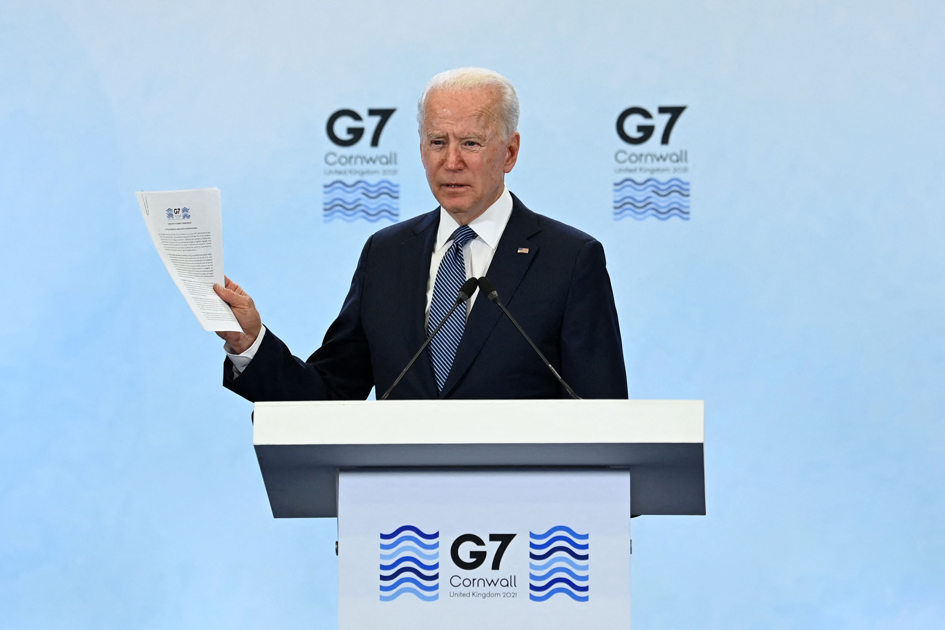 US President Joe Biden speaks at a press conference at Cornwall Airport Newquay in England on June 13.