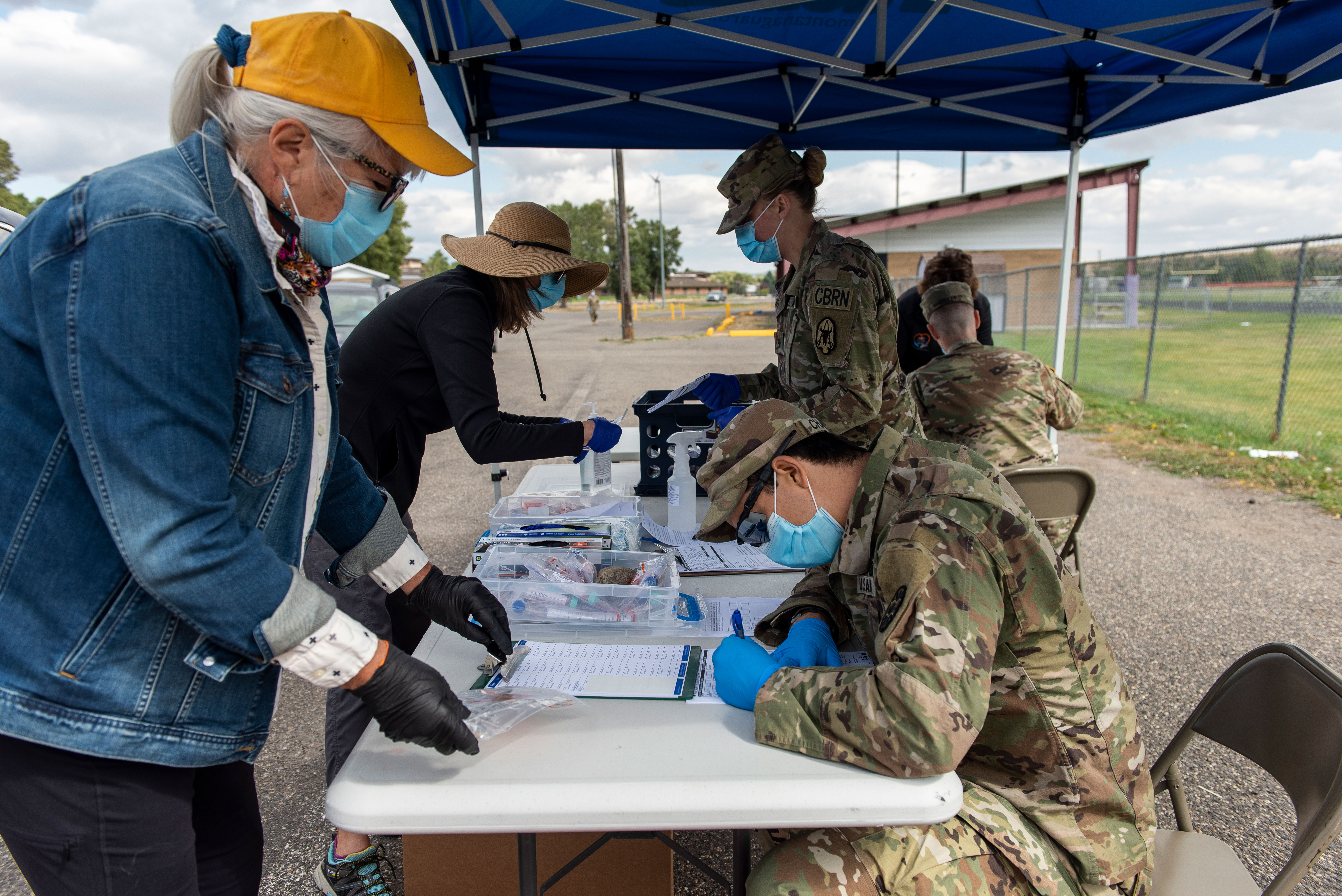 The Park County Health Department and members of the Montana National Guard conduct community surveillance testing for Covid-19 on September 20 in Livingston, Montana.