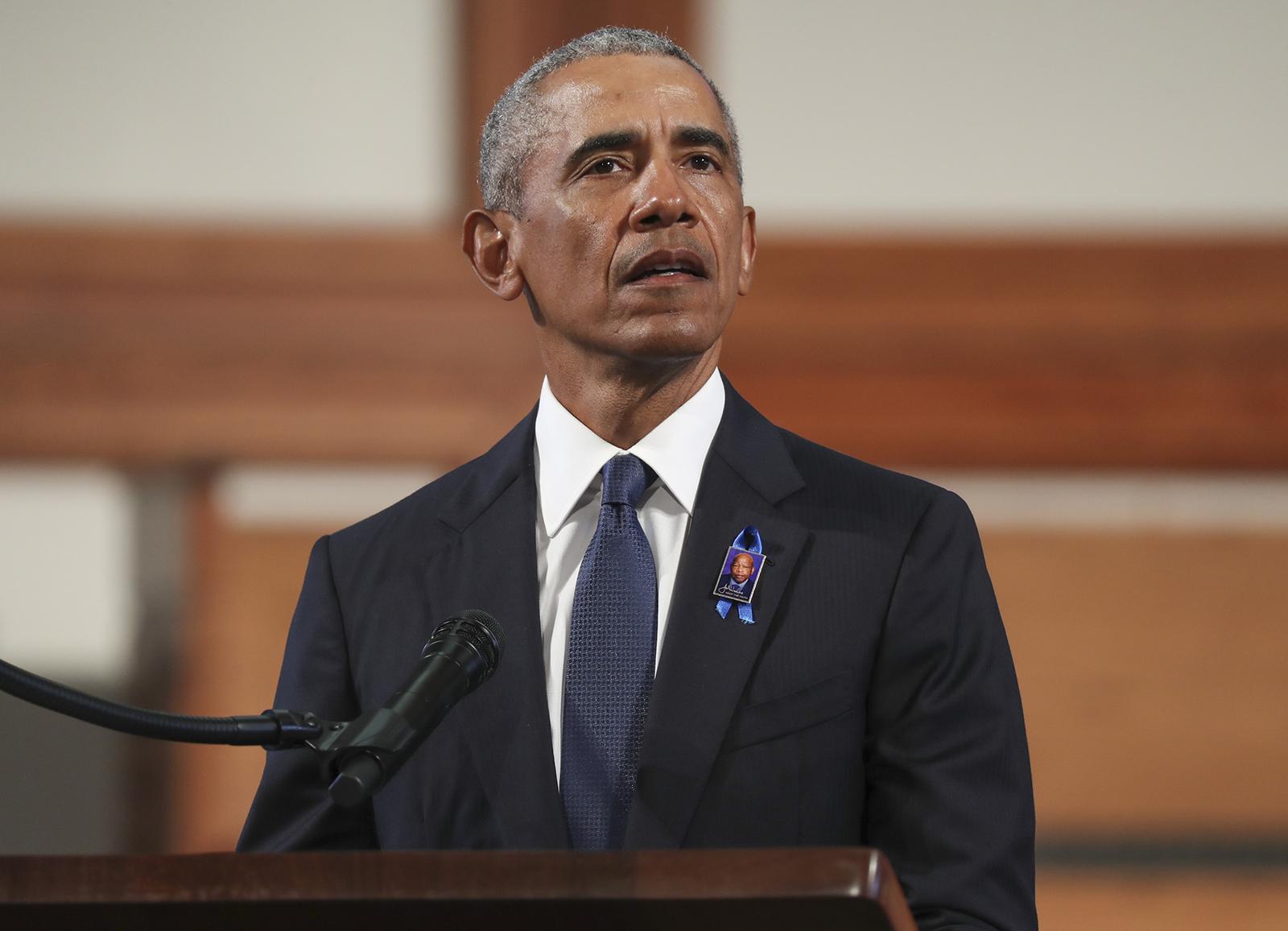 Former U.S. President Barack Obama speaks during the funeral service of the late Rep. John Lewis at Ebenezer Baptist Church on July 30, in Atlanta, Georgia.