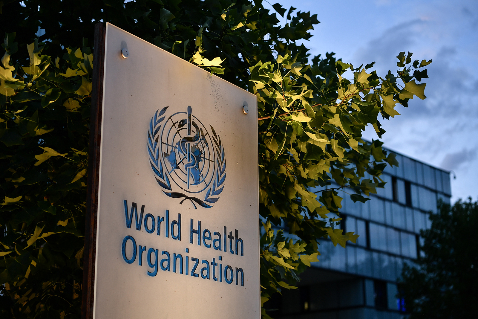 The World Health Organization (WHO) is seen at their headquarters in Geneva, Switzerland, on August 17.