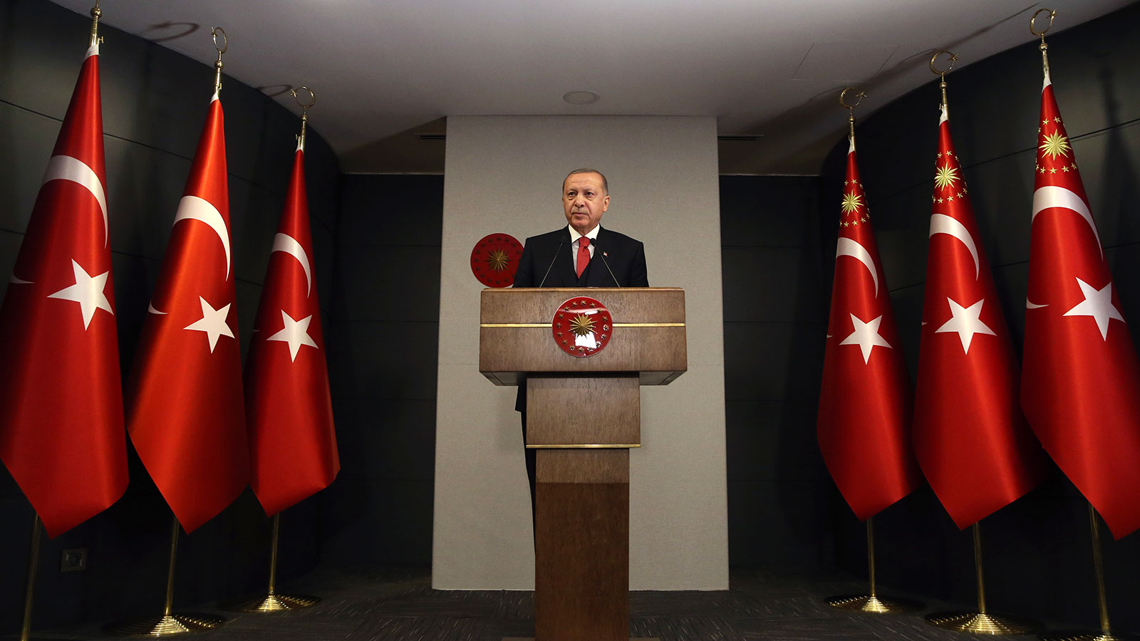 Turkish President Recep Tayyip Erdogan speaks during a news conference after a cabinet meeting via videoconferencing in Istanbul, Turkey on April 20.