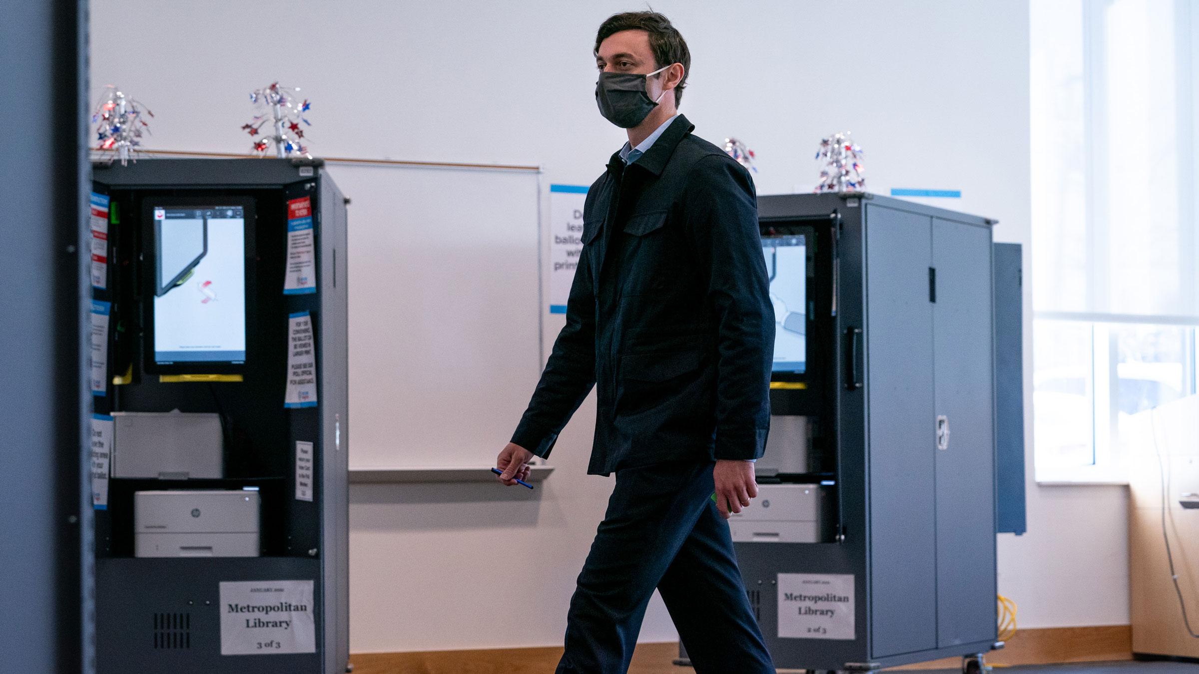 Jon Ossoff prepares to vote in Atlanta on Tuesday.