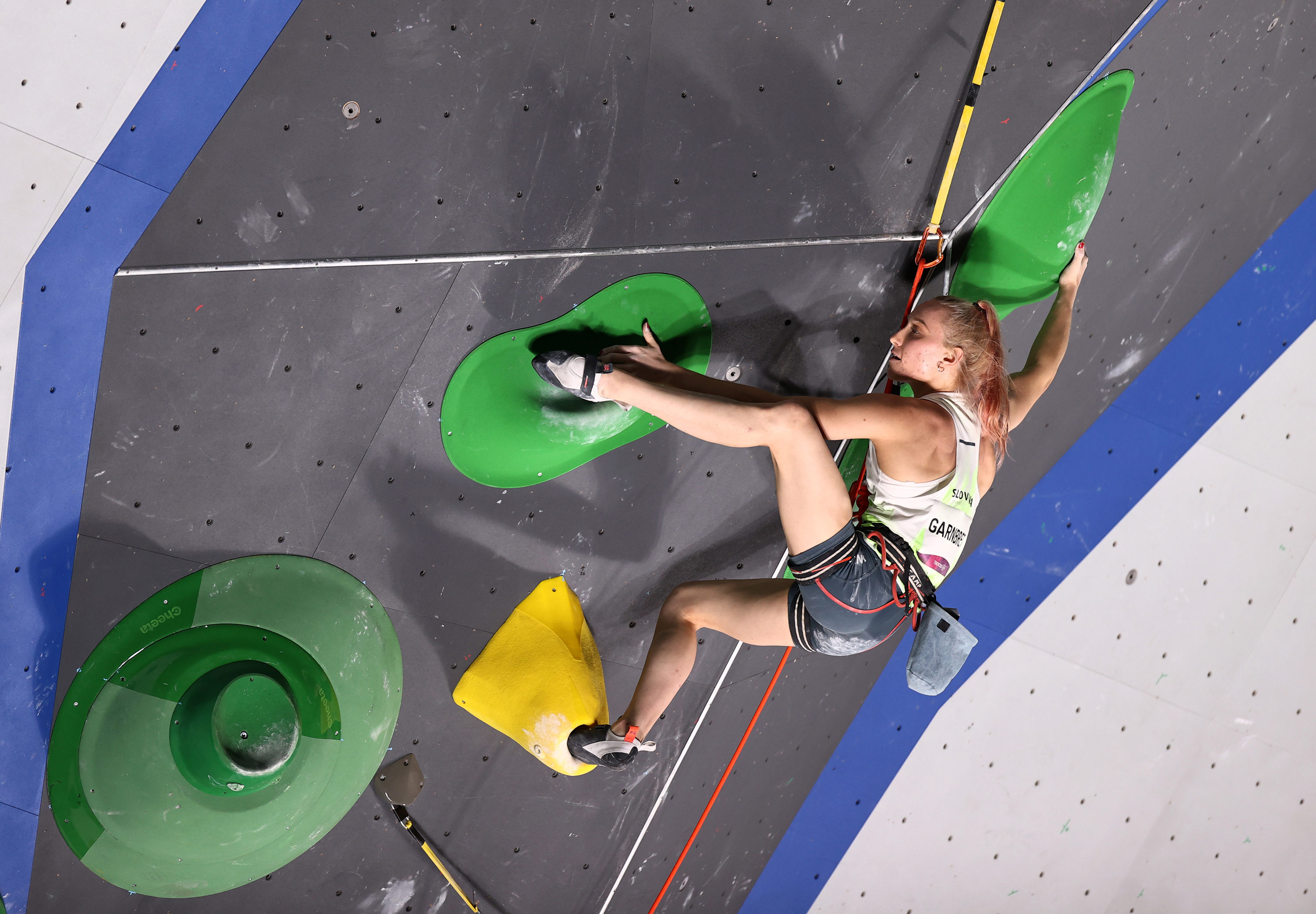 Slovenia's Janja Garnbret competes in the sport climbing combined final on August 6.