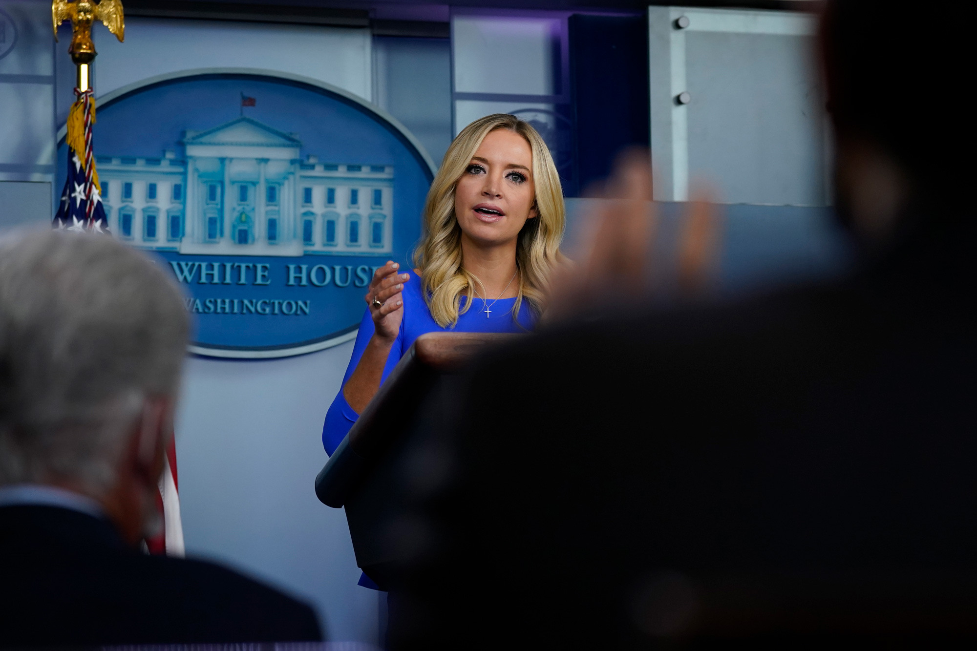 White House press secretary Kayleigh McEnany speaks during a news conference at the White House in Washington, DC, on October 1.