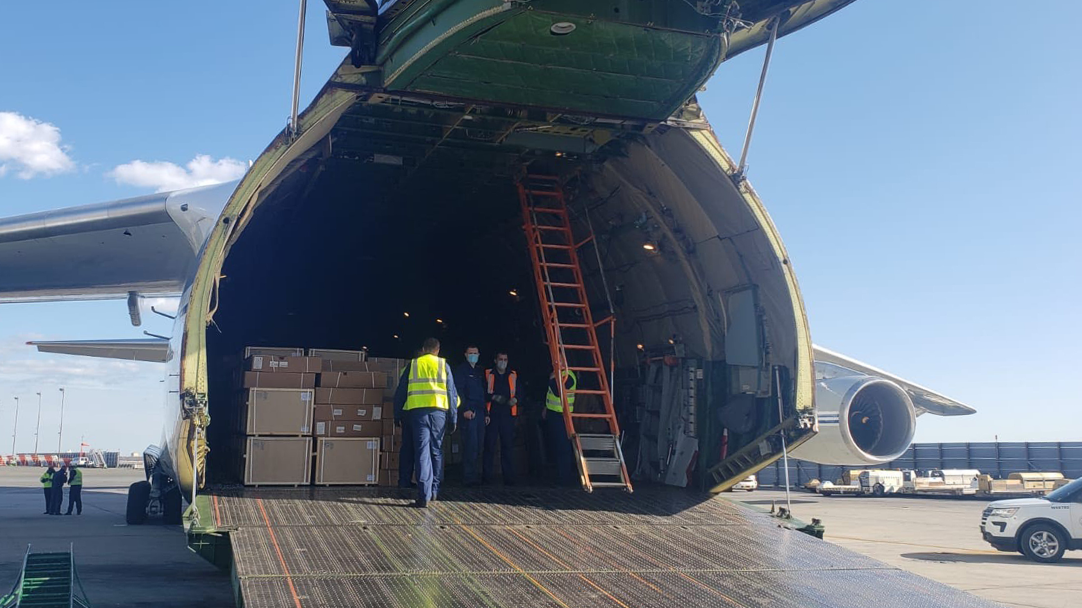 A plane carrying medical supplies from Russia landed at John F. Kennedy International Airport in New York on Wednesday, April 1.