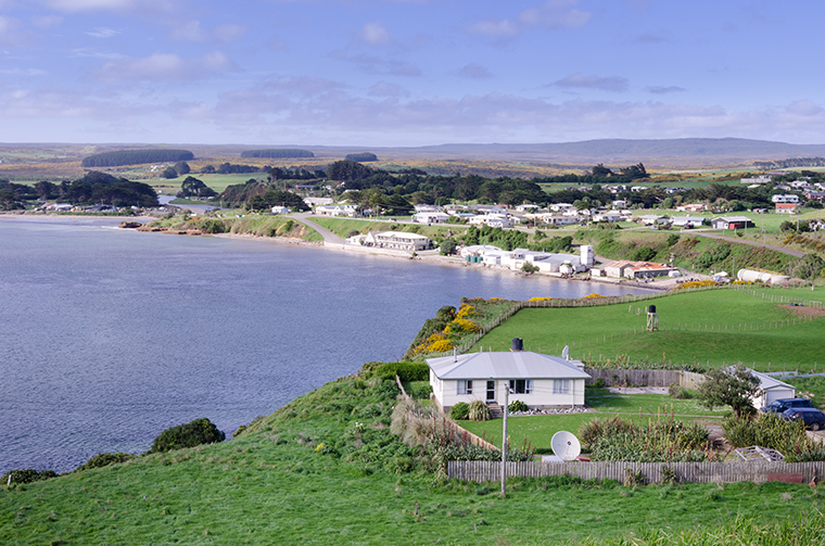 A view of Waitangi, the main port and settlement of the Chatham Islands, New Zealand.