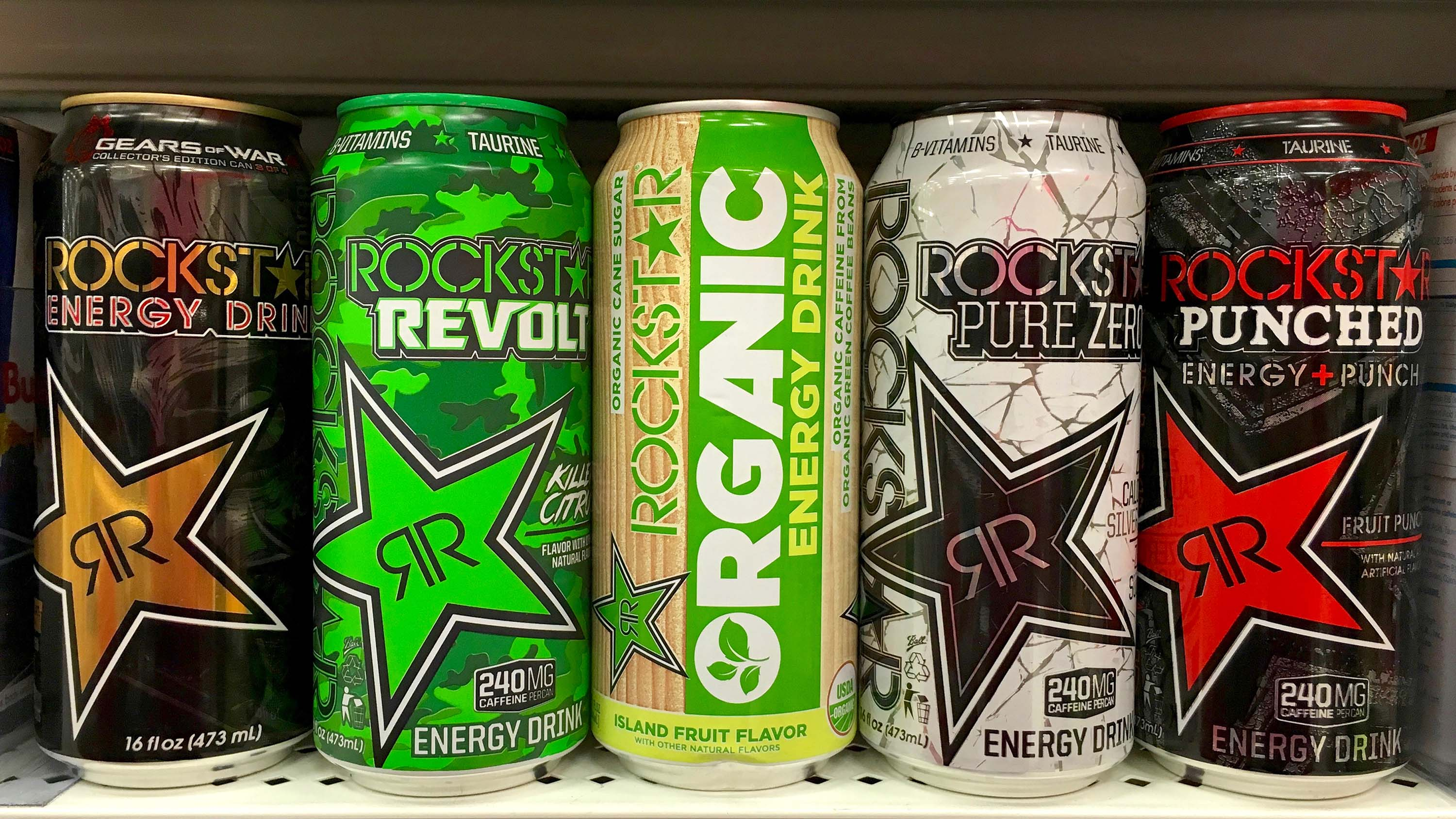 Rock Star brand energy drinks pictured on display in a California grocery store in October 2016.