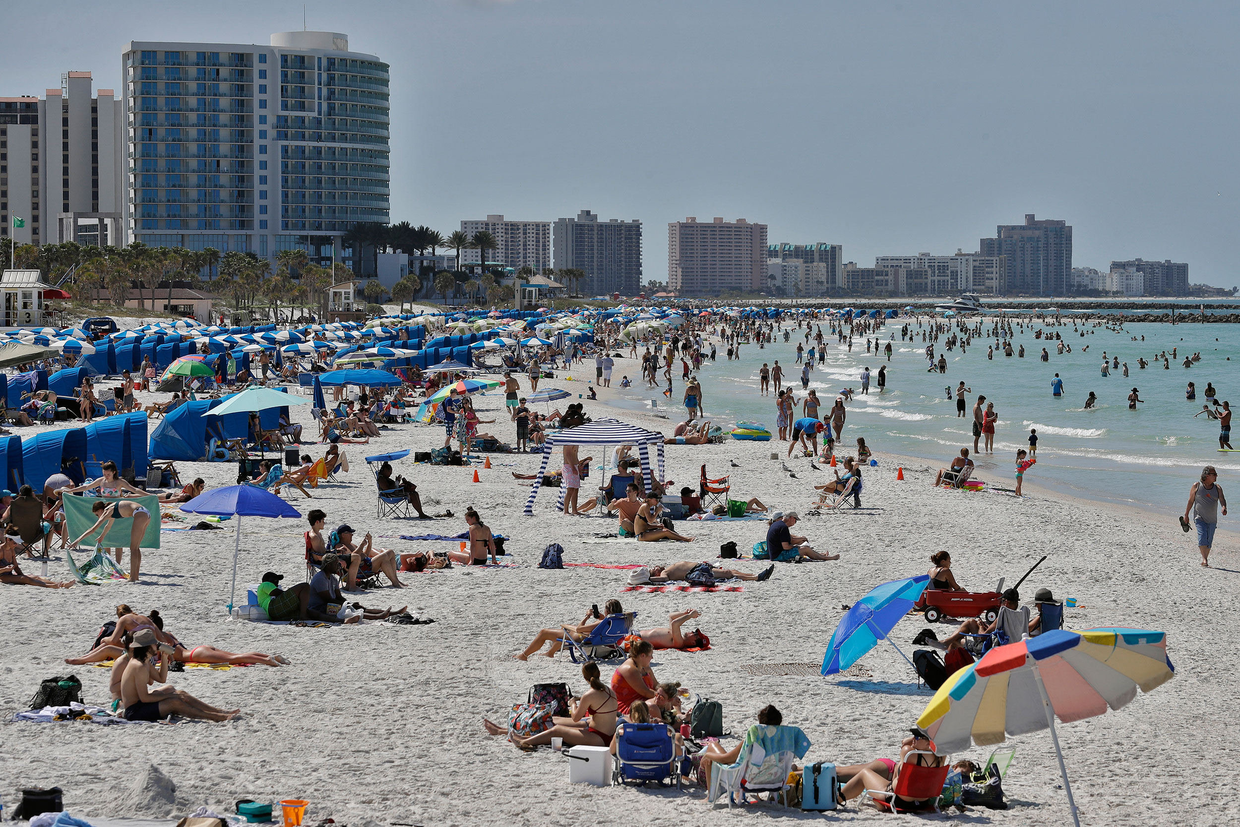 Visitors enjoy Clearwater Beach on March 18, in Clearwater Beach, Florida.