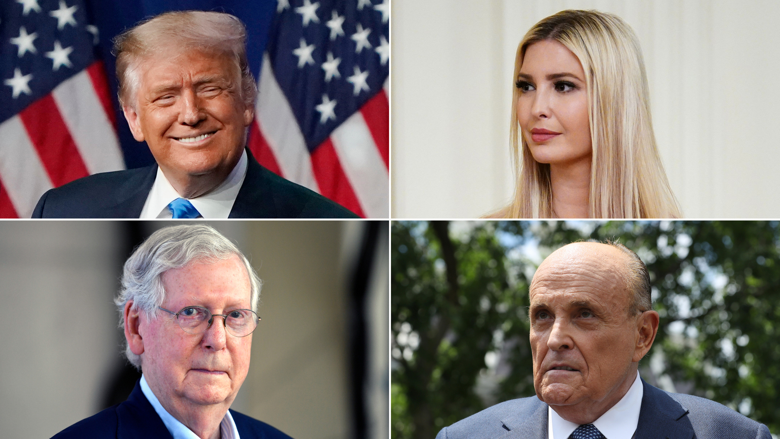 President Donald Trump, Ivanka Trump, Sen. Mitch McConnell and Rudy Giuliani.