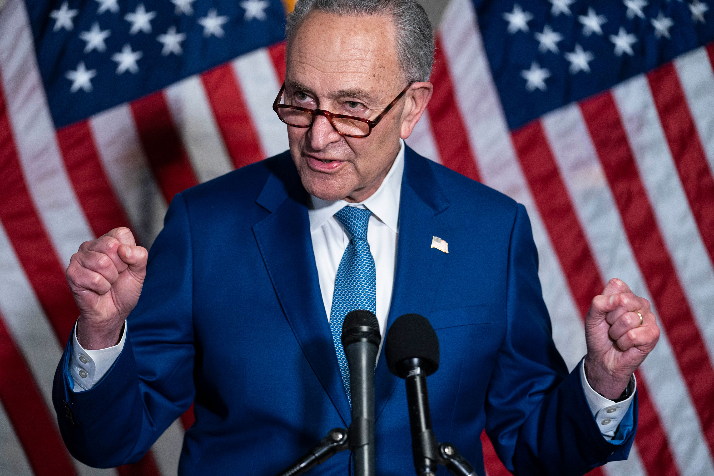 Senate Majority Leader Chuck Schumer speaks during a news conference on April 20.