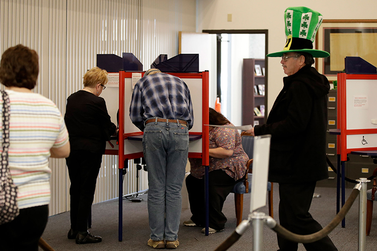 Voters take advantage of early voting, Sunday, March 15, in Steubenville, Ohio.