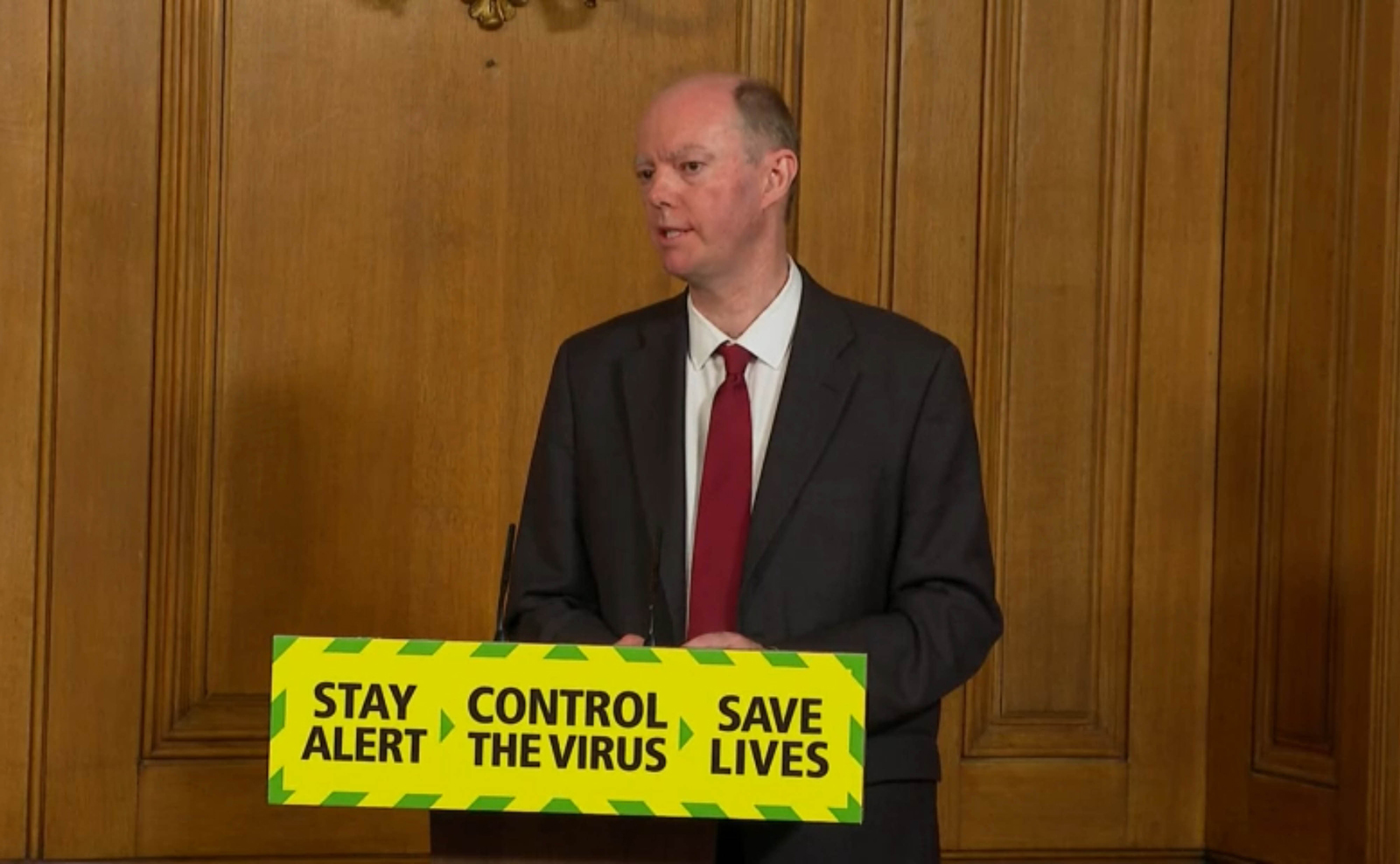 In this screen grab, Chief Medical Officer Professor Chris Whitty speaks during a media briefing in Downing Street, London on July 3.