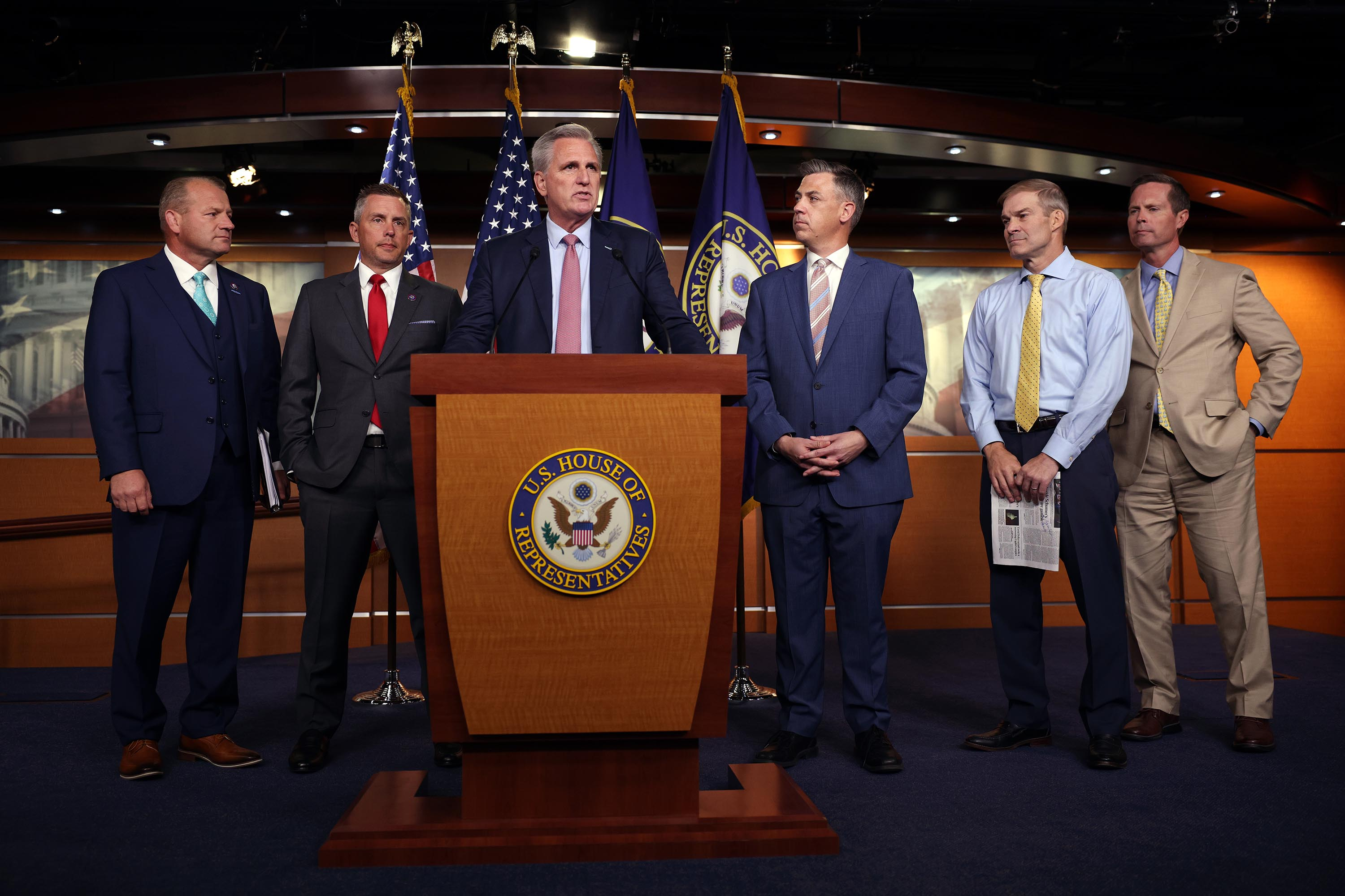 House Minority Leader Kevin McCarthy speaks at a news conference on House Speaker Nancy Pelosi's decision to reject two of McCarthy's selected members from serving on the committee investigating the January 6th riots on July 21, 2021 in Washington, DC.