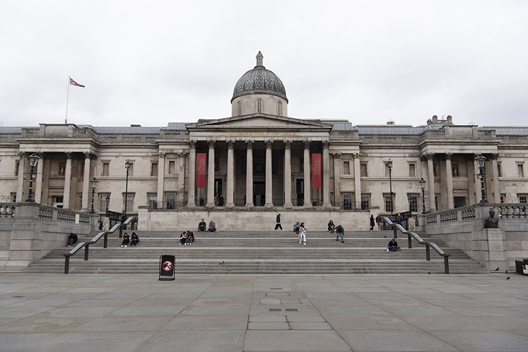 The National Gallery and Trafalgar Square are seen with a few visitors in London, Britain, on March 17..