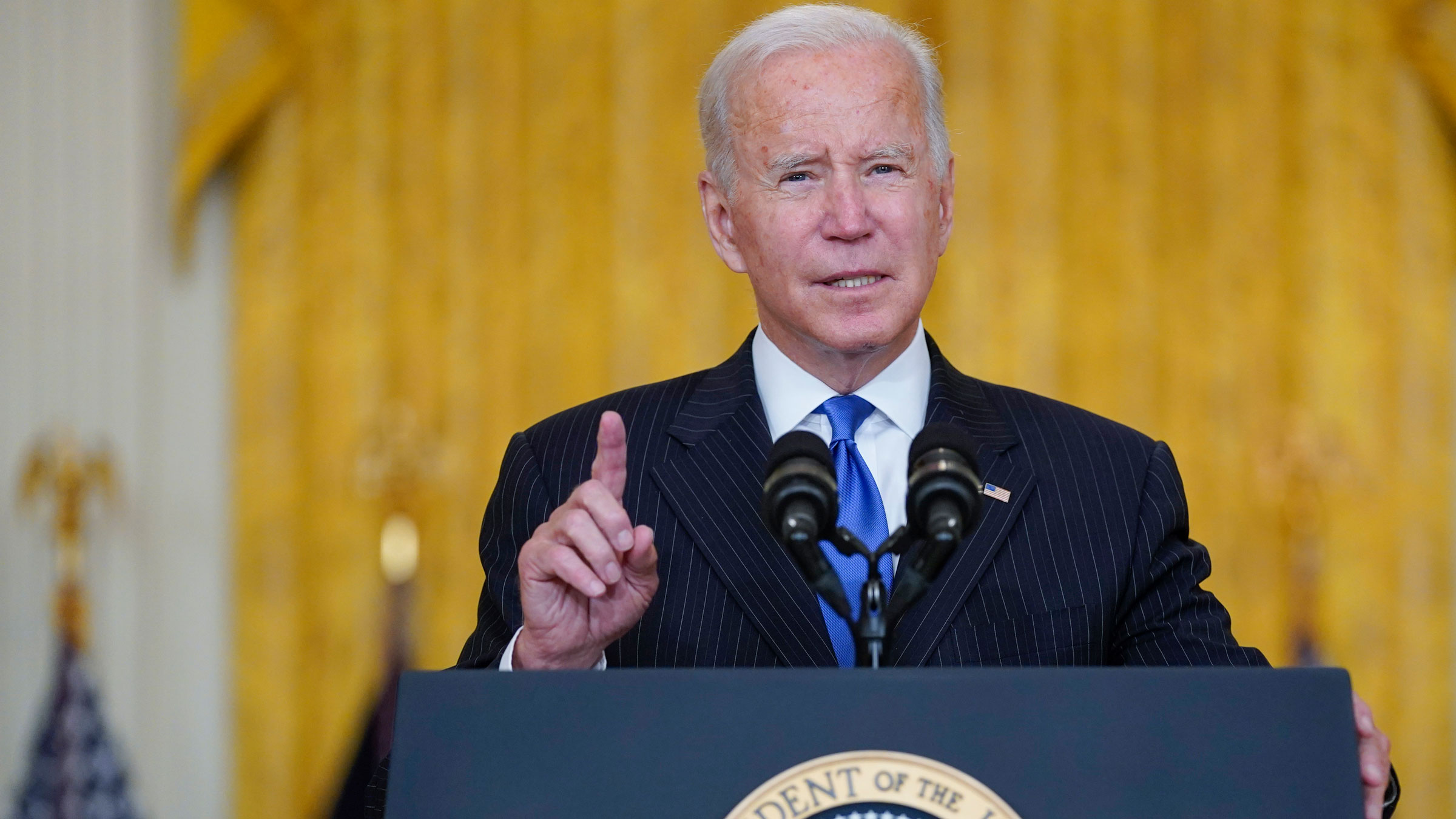 President Joe Biden delivers remarks at the White House on Wednesday.