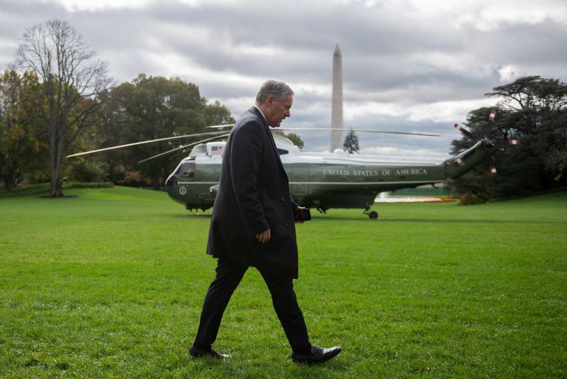 White House chief of staff Mark Meadows walks past Marine One at the White House on October 30, in Washington, DC.