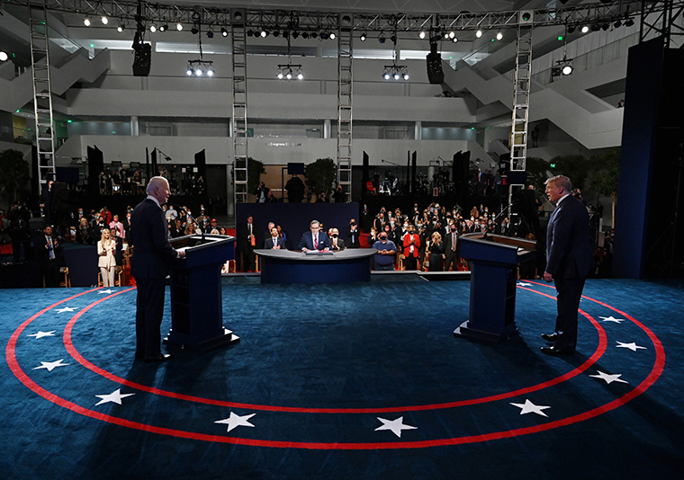 U.S. President Donald Trump (R) and former Vice President Democratic presidential nominee Joe Biden participate in the first presidential debate at the Health Education Campus of Case Western Reserve University on September 29, 2020 in Cleveland, Ohio.