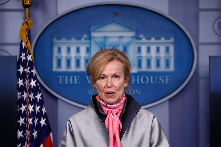 Dr. Deborah Birx, White House coronavirus response coordinator, speaks about the coronavirus at the White House, Tuesday, April 7.