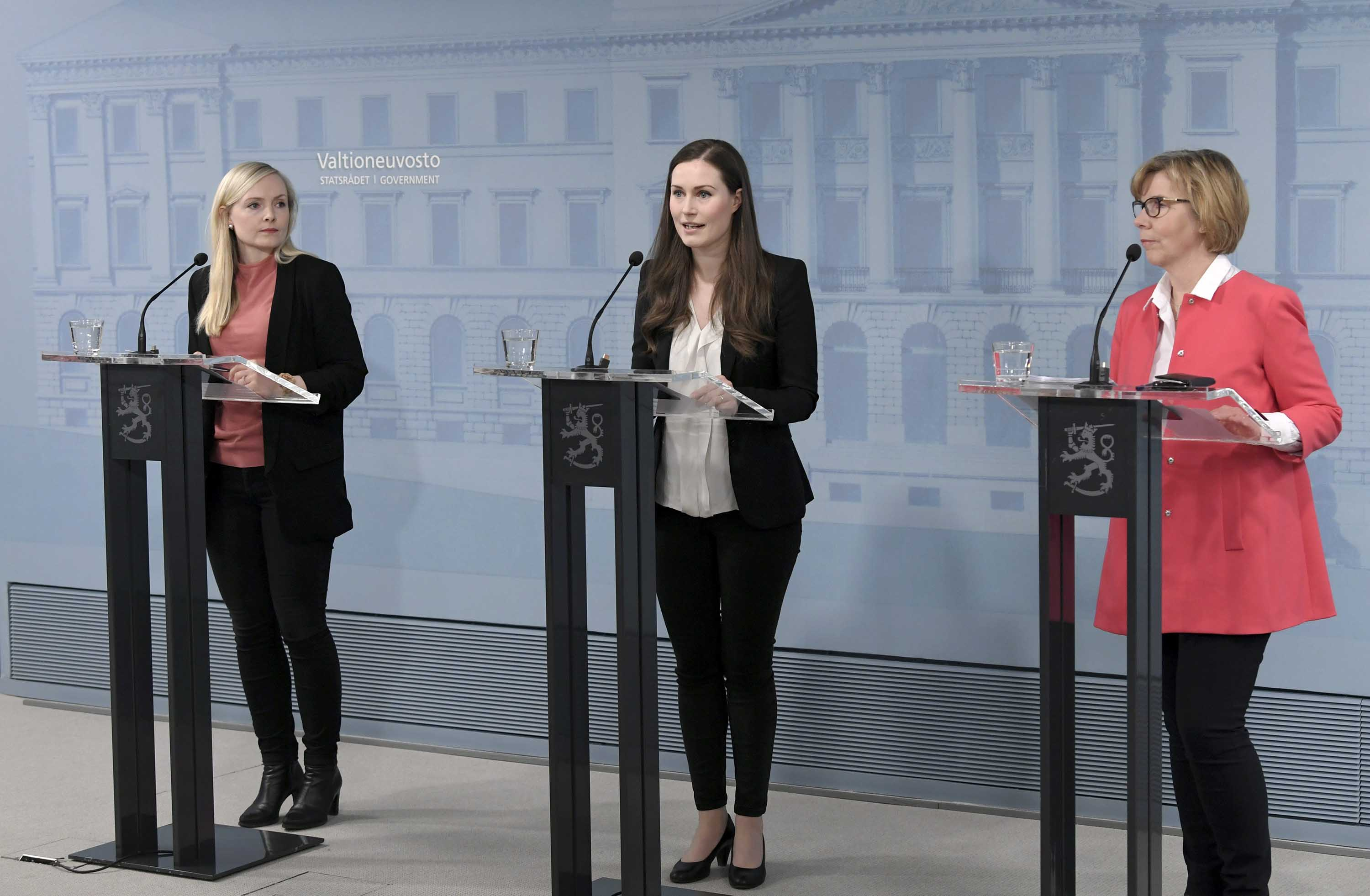 From left: Finnish Interior Minister Maria Ohisalo, Prime Minister Sanna Marin and Justice Minister Anna-Maja Henriksson attend a press conference in Helsinki, Finland, on April 15.