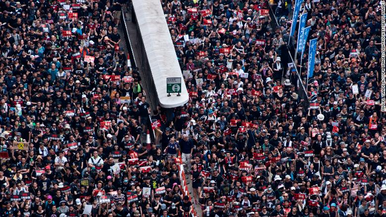 File photograph of thousands of Hong Kong protesters during a demonstration in June. Hong Kong has faced 10 weeks of mass protests initially sparked by a controversial extradition bill.