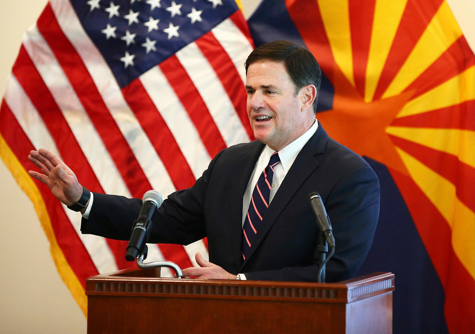 Arizona Gov. Doug Ducey gives an update on the Covid-19 pandemic response, on April 14, in Phoenix, Arizona.