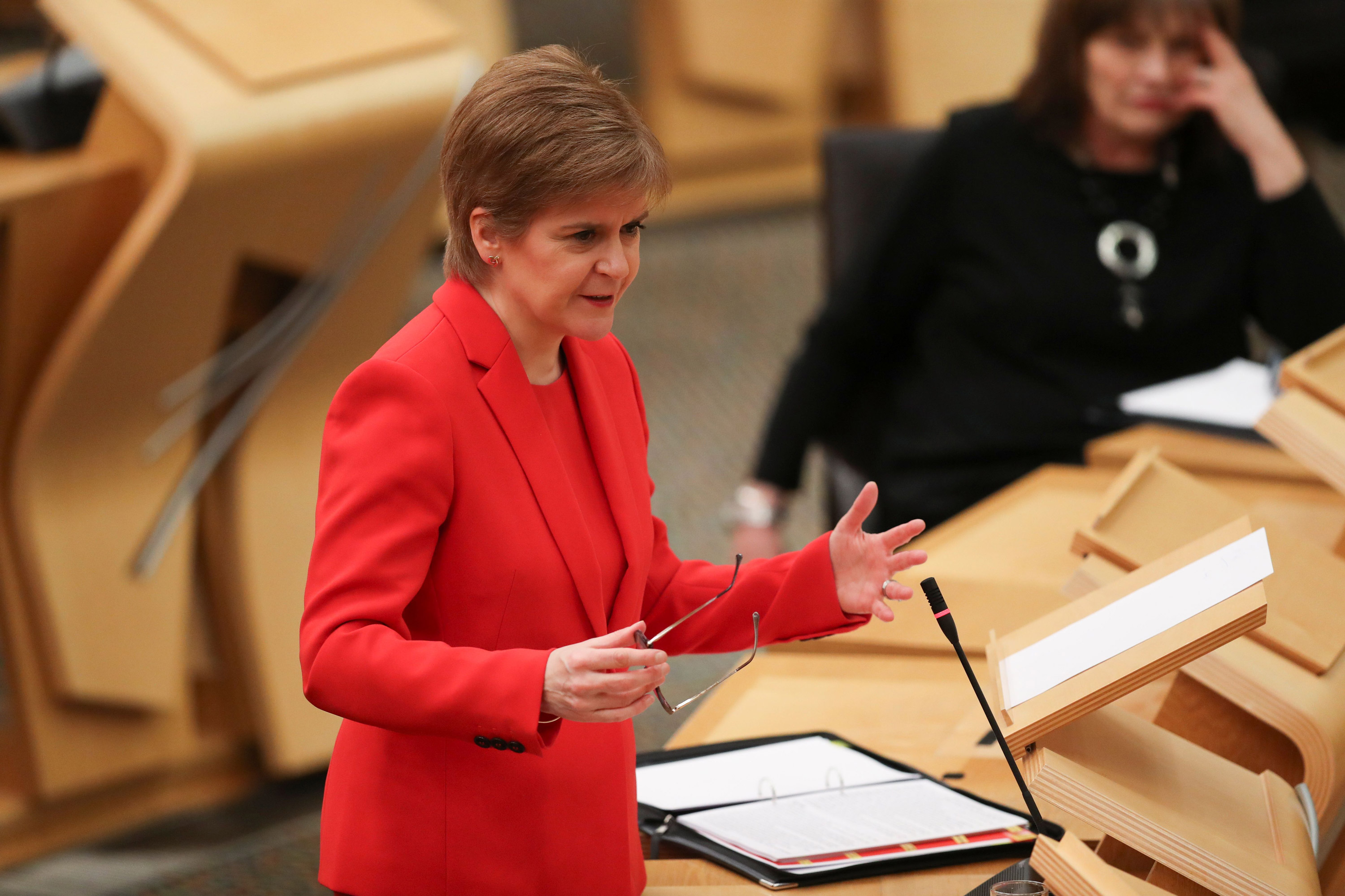 Scotland's First Minister Nicola Sturgeon speaks during a session at the Scottish Parliament in Holyrood, Edinburgh,on January 19,