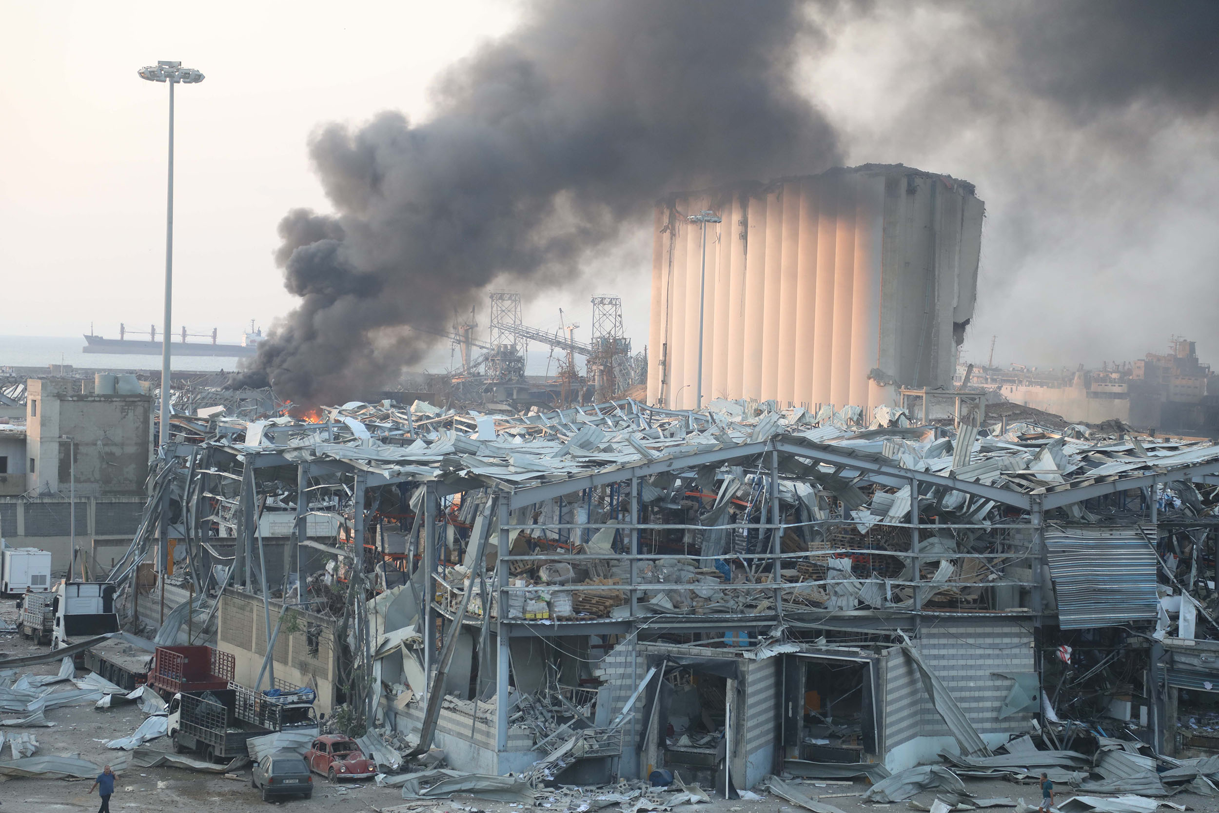 Smoke rises from an explosion site at the port of Beirut, Lebanon, on August 4.