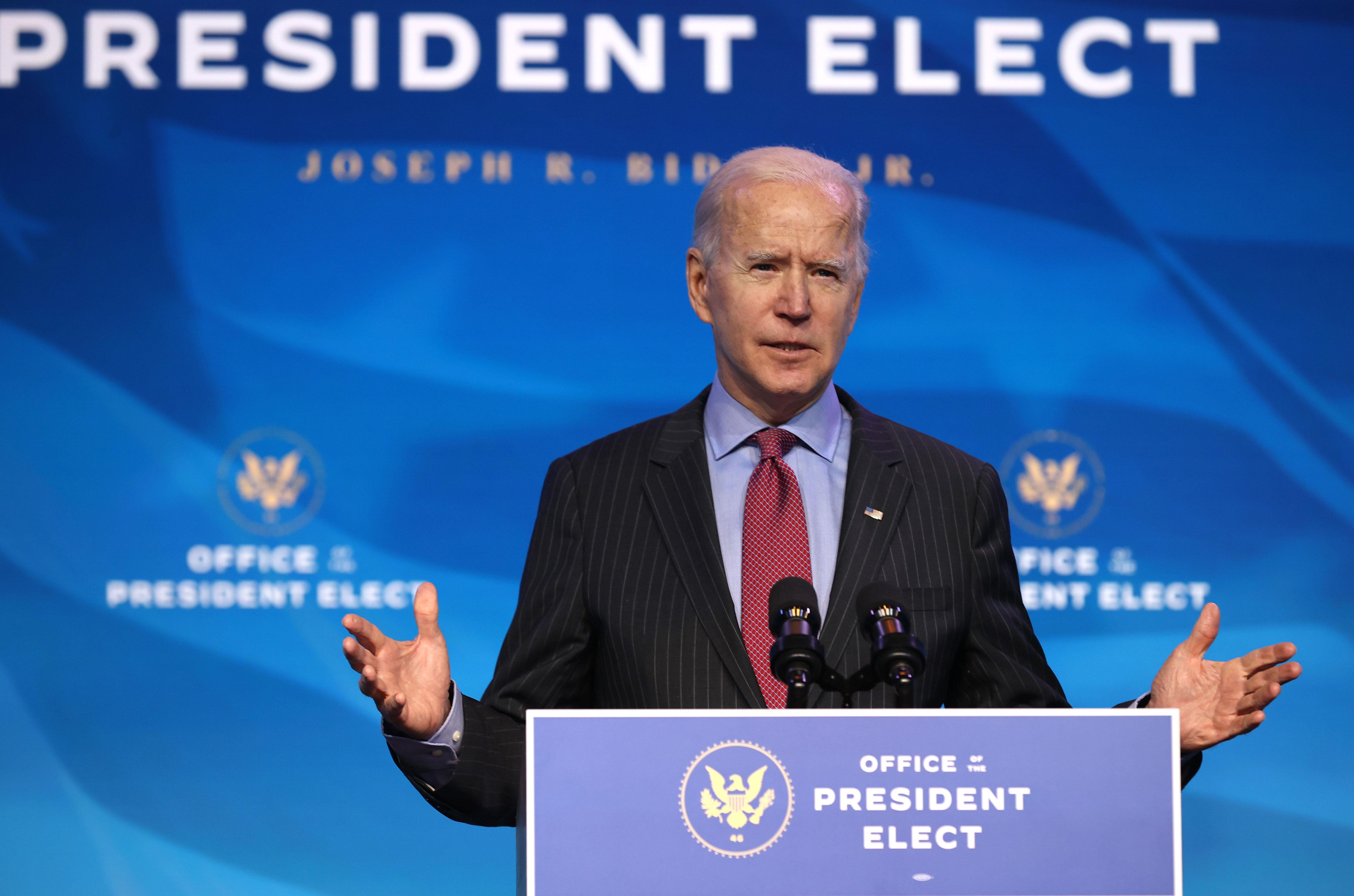 President-elect Joe Biden speaks in Wilmington, Delaware, on January 8.