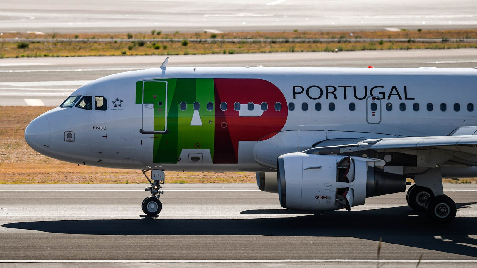 A plane of Portuguese airline TAP at Humberto Delgado airport in Lisbon on October 3, 2018.