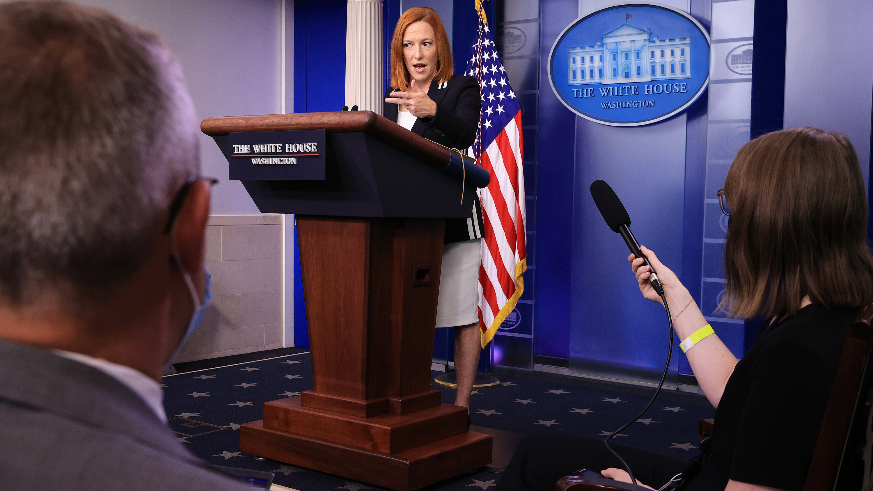 White House Press Secretary Jen Psaki talks to reporters during the daily news conference in the Brady Press Briefing Room at the White House in Washington, DC, on September 2.