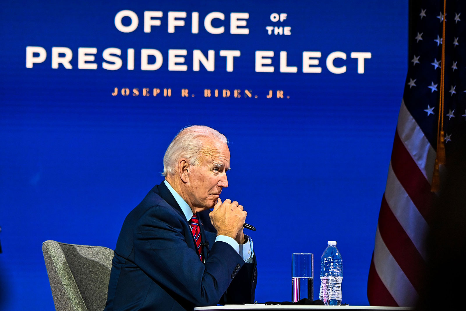 President-elect Joe Biden participates in a virtual meeting with the United States Conference of Mayors in Wilmington, Delaware, on Monday, November 23.