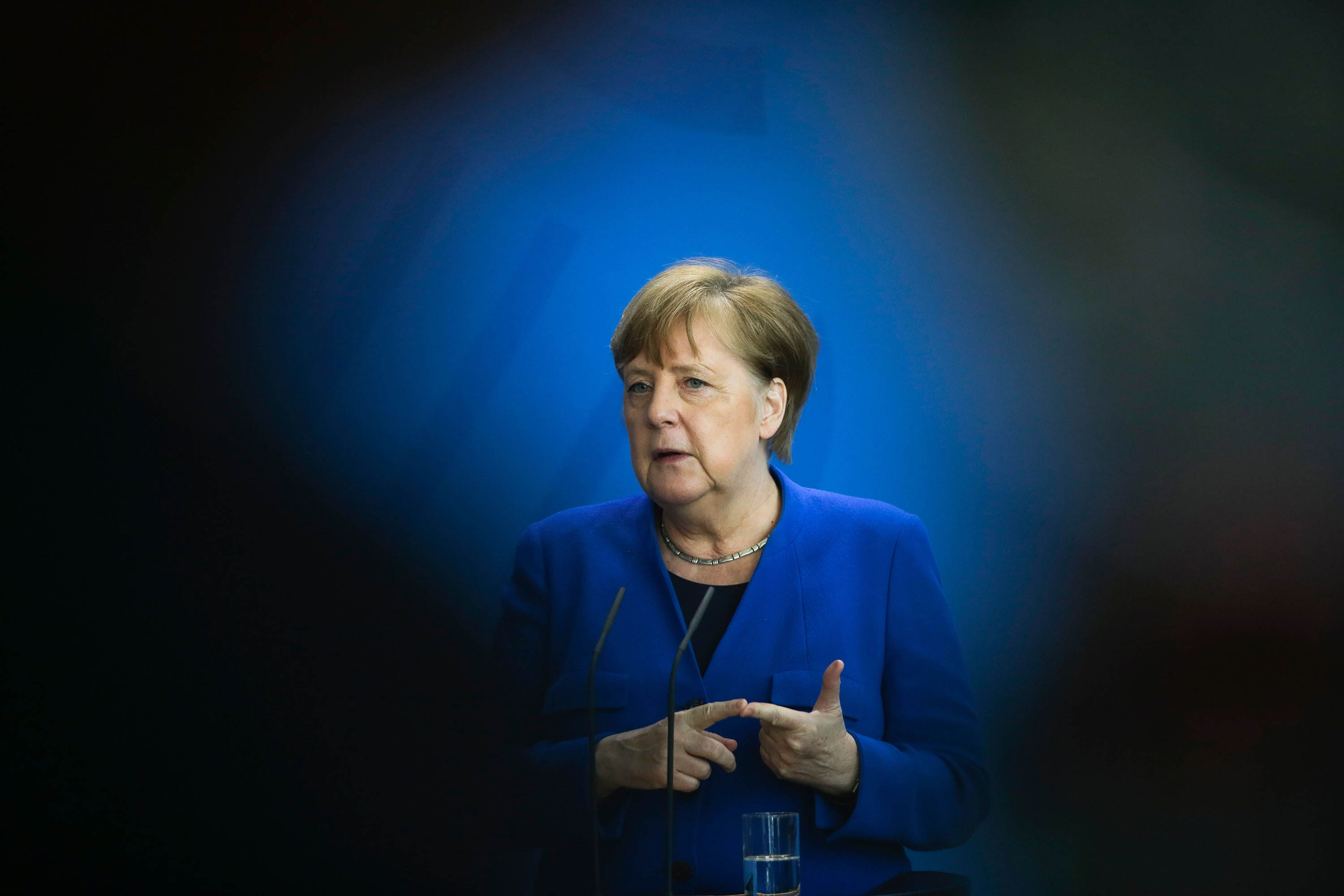 German Chancellor Angela Merkel attends a press conference about measures to avoid further spread of the coronavirus in Berlin, Germany, on April 20.
