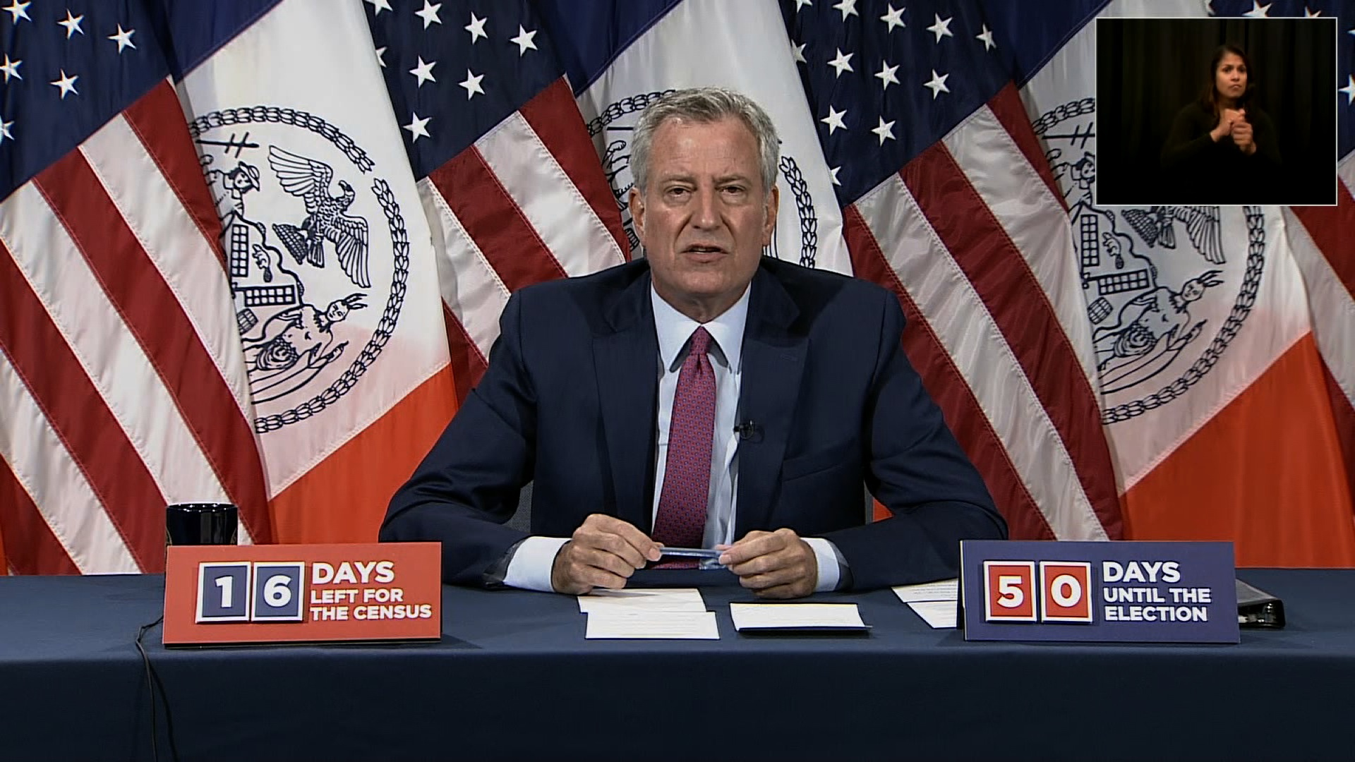 New York City Mayor Bill de Blasio speaks during a press conference in New York on September 14.