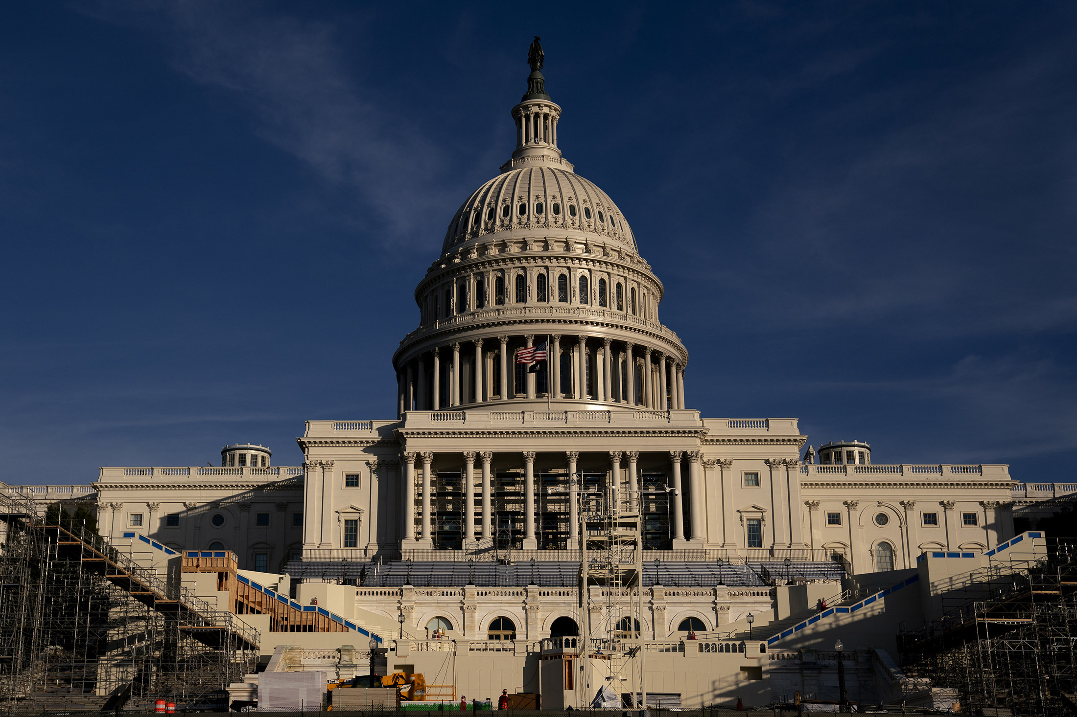 The stage for the Presidential inauguration is prepared outside the U.S. Capitol on December 11, in Washington DC.
