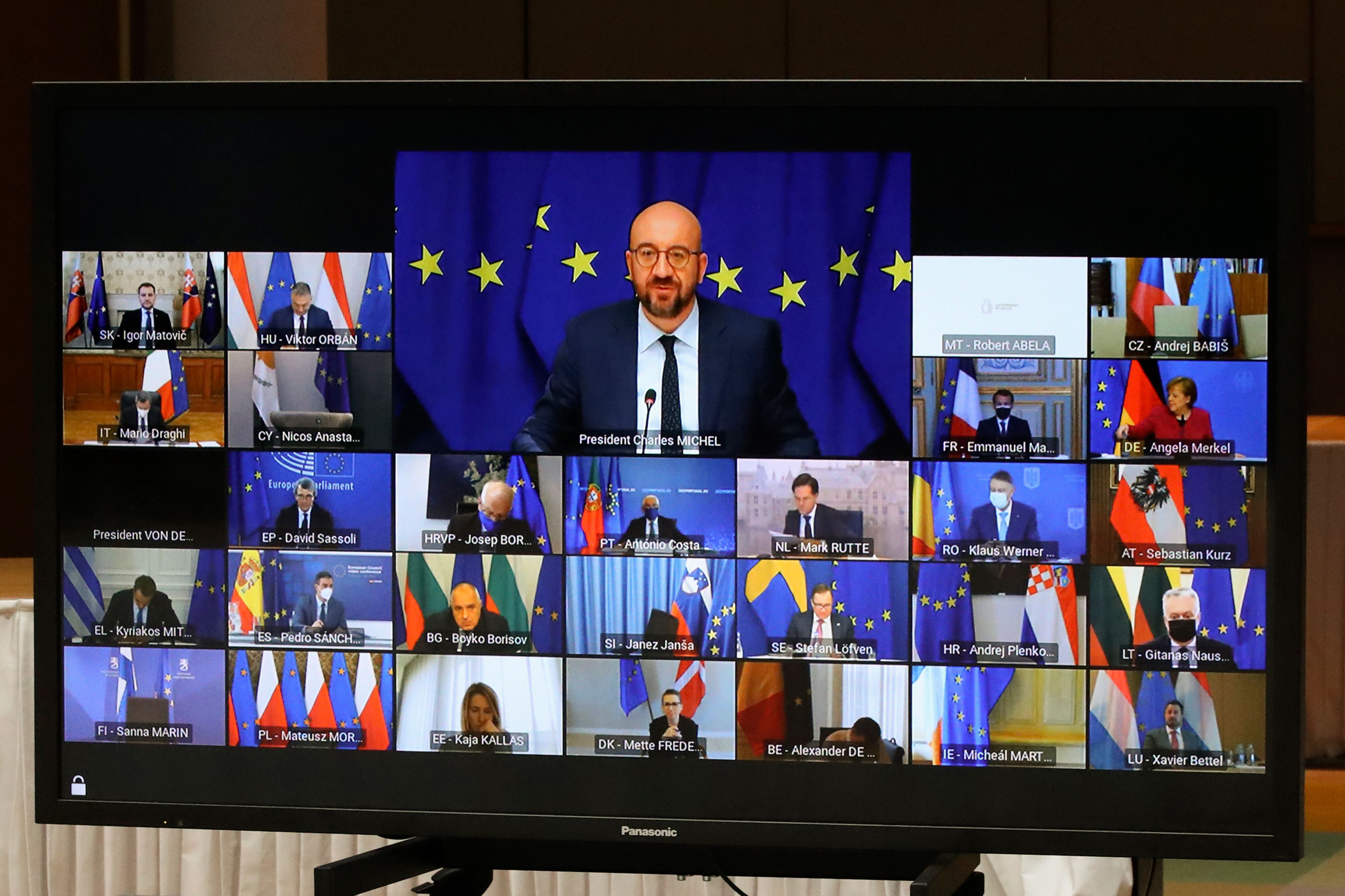 European Council President Charles Michel, top of screen, speaks with European Union leaders during a virtual summit in Brussels, Belgium, on March 25.