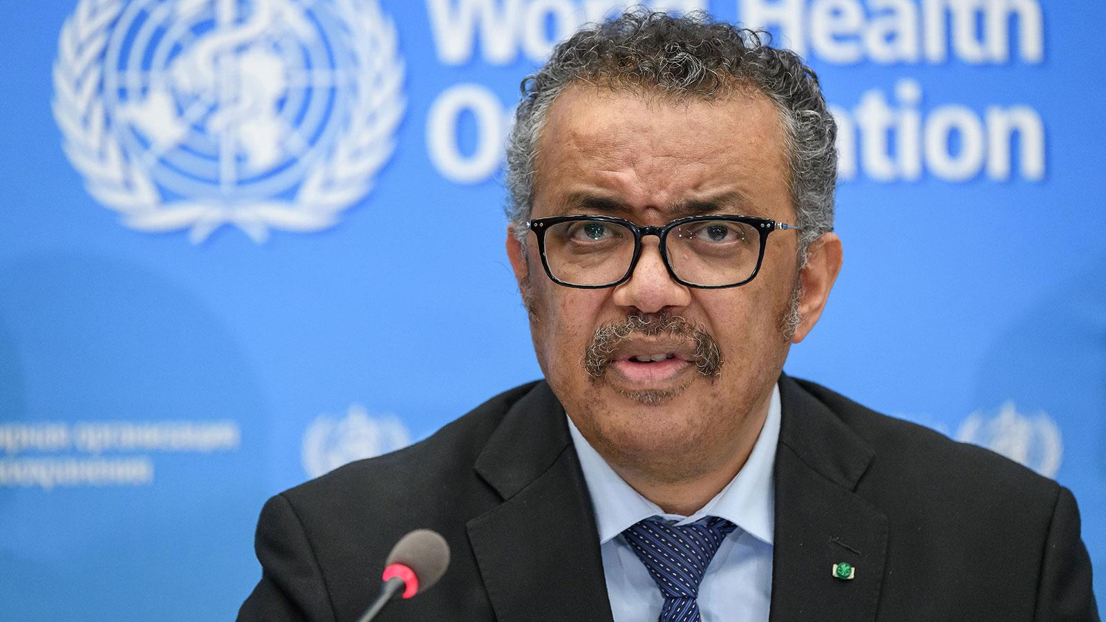 World Health Organization director general Tedros Adhanom Ghebreyesus gives a news conference on the situation regarding the coronavirus in Geneva on February 24.