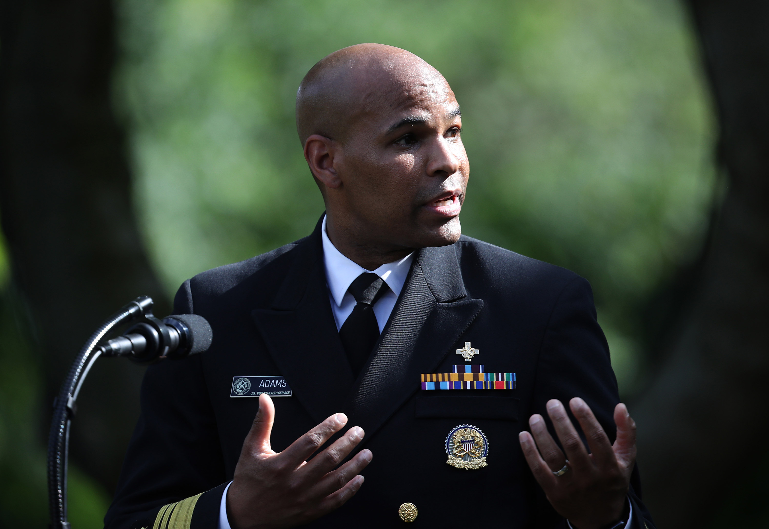 U.S. Surgeon General Jerome Adams speaks during an event in the Rose Garden at the White House on May 26 in Washington.