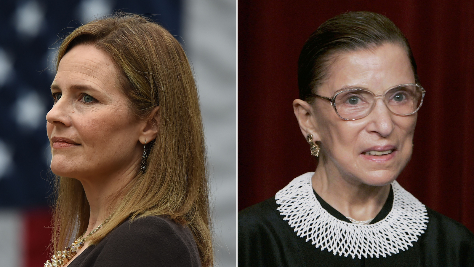 From left, Amy Coney Barrett and Justice Ruth Bader Ginsburg.