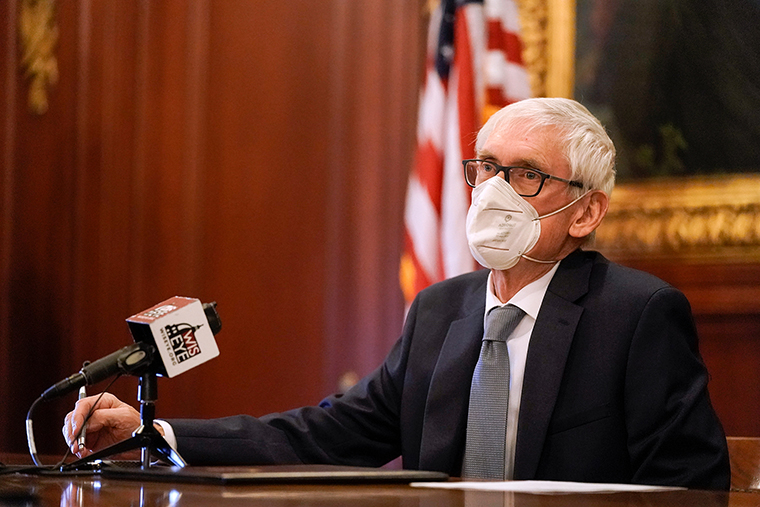 Wisconsin Gov. Tony Evers is seen at the state Capitol on December 14, 2020, in Madison, Wisconsin.