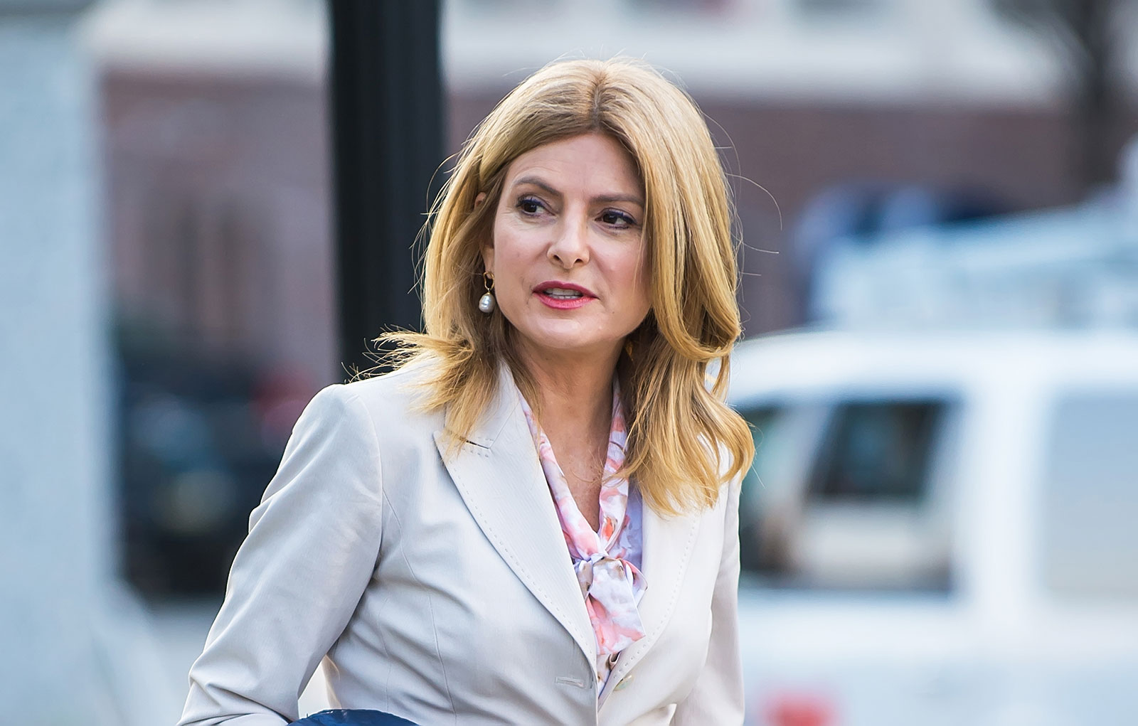 Attorney Lisa Bloom pictured outside of the Montgomery County courthouse in 2018.