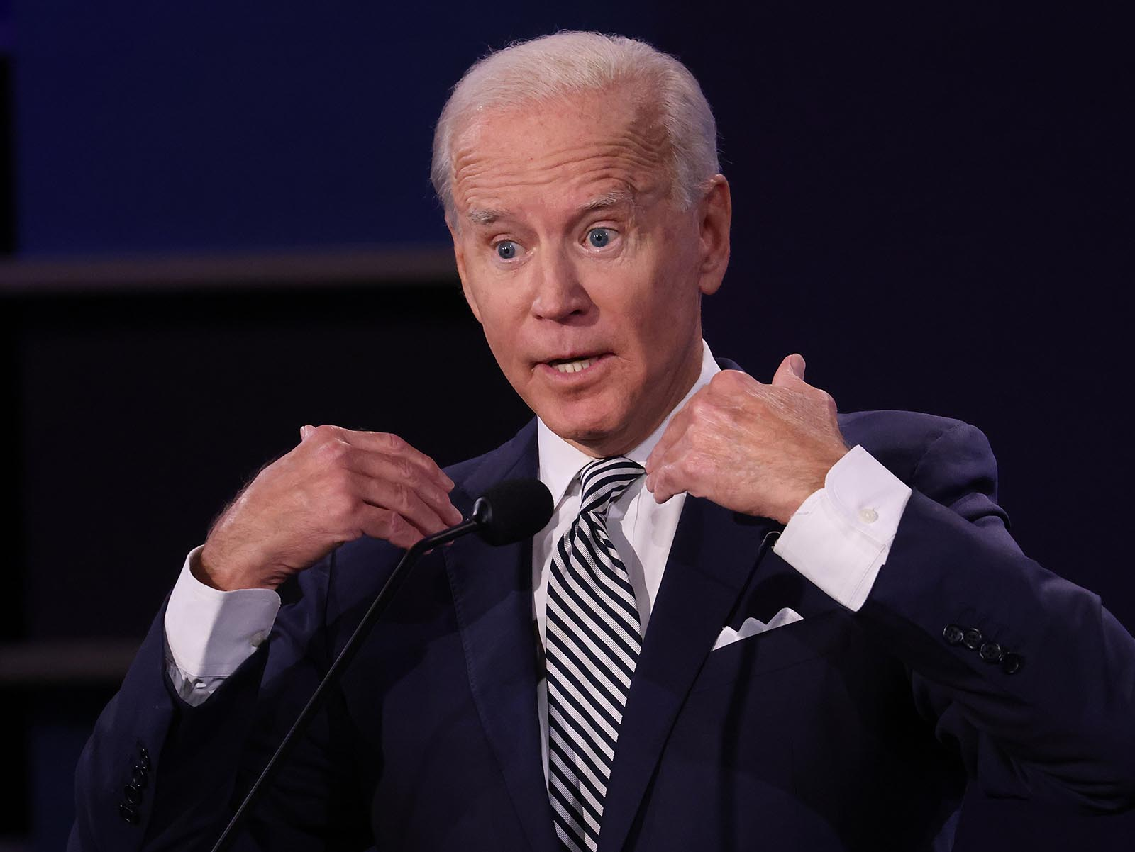 Democratic presidential nominee Joe Biden participates in the first presidential debate against President Donald Trump.